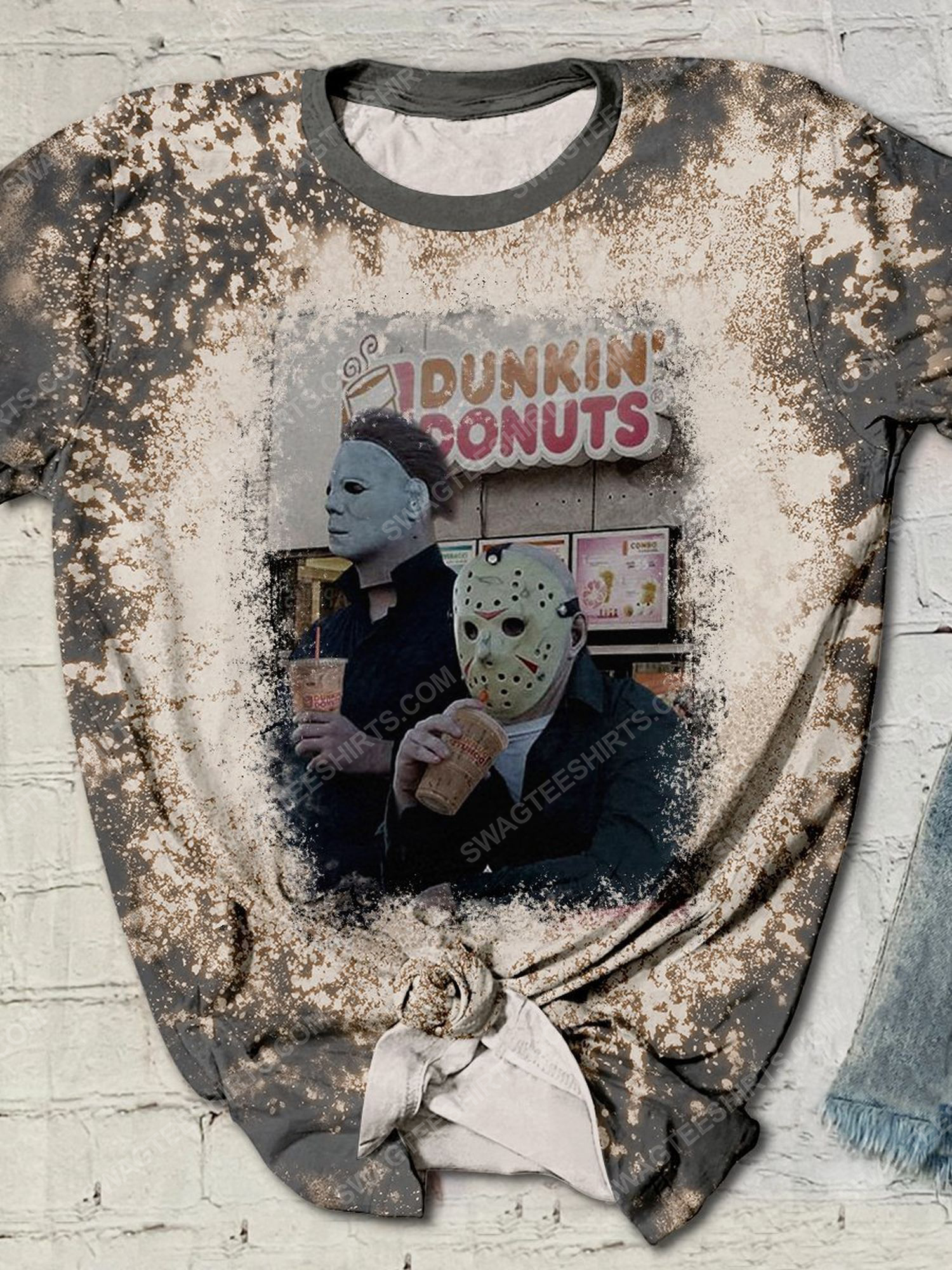Halloween horror movie characters dunkin donuts bleached shirt 1