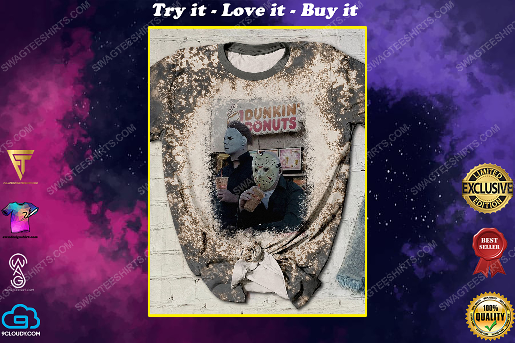 Halloween horror movie characters dunkin donuts bleached shirt