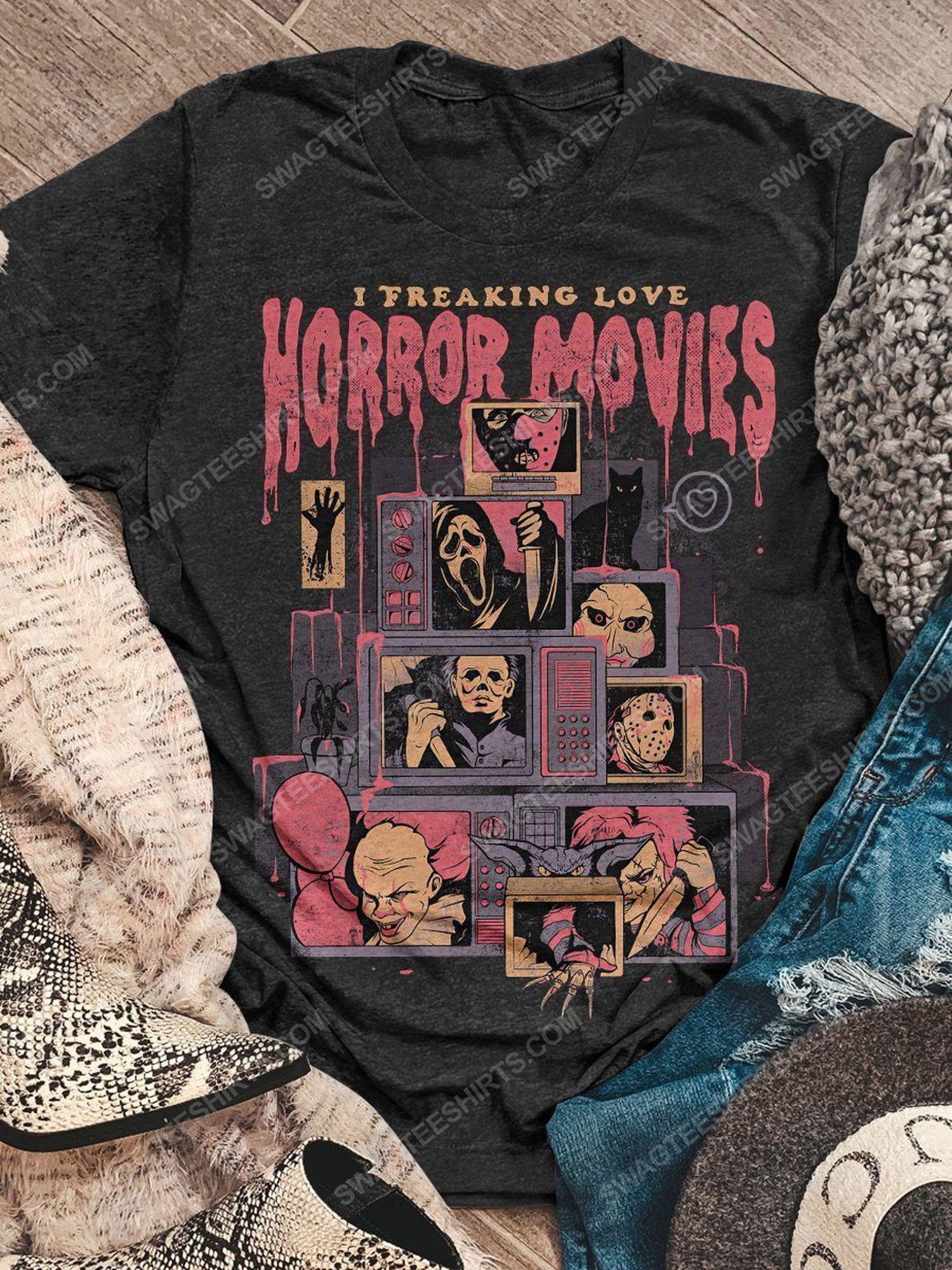 Halloween i freaking love horror movies vintage shirt 1 - Copy