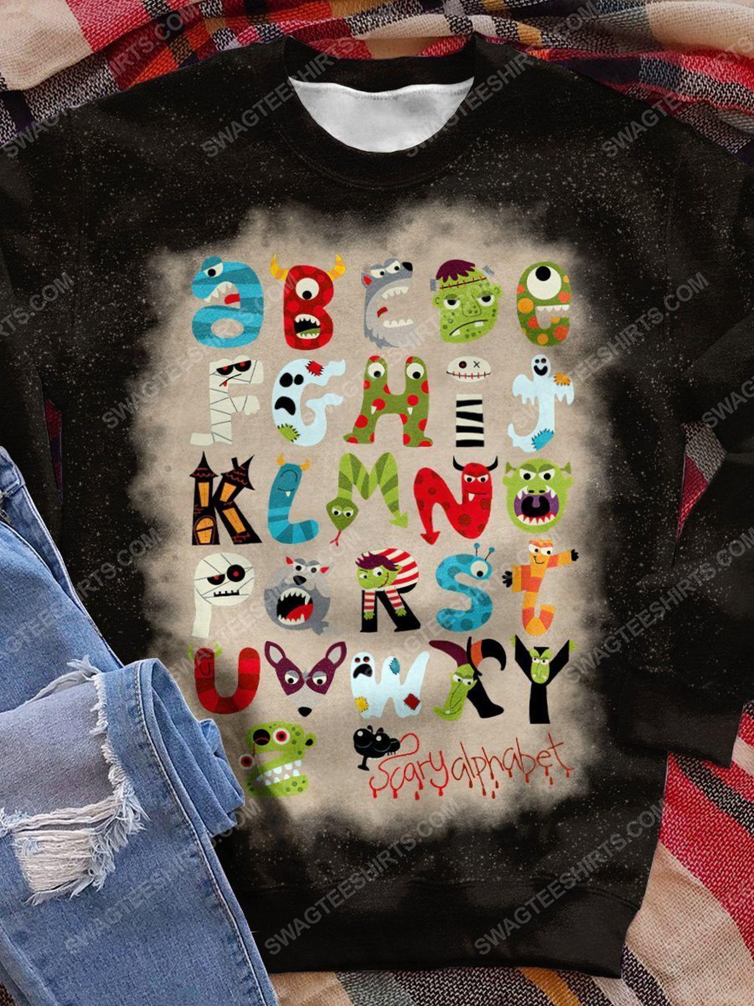 Halloween little things doodles alphabet bleached shirt 1