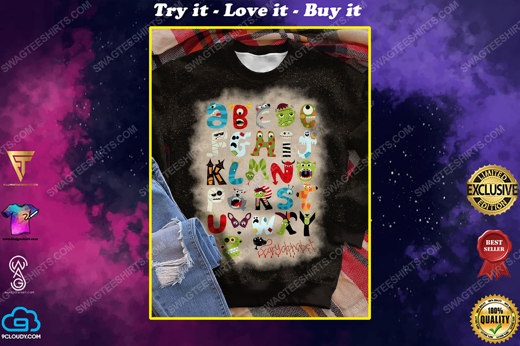 Halloween little things doodles alphabet bleached shirt