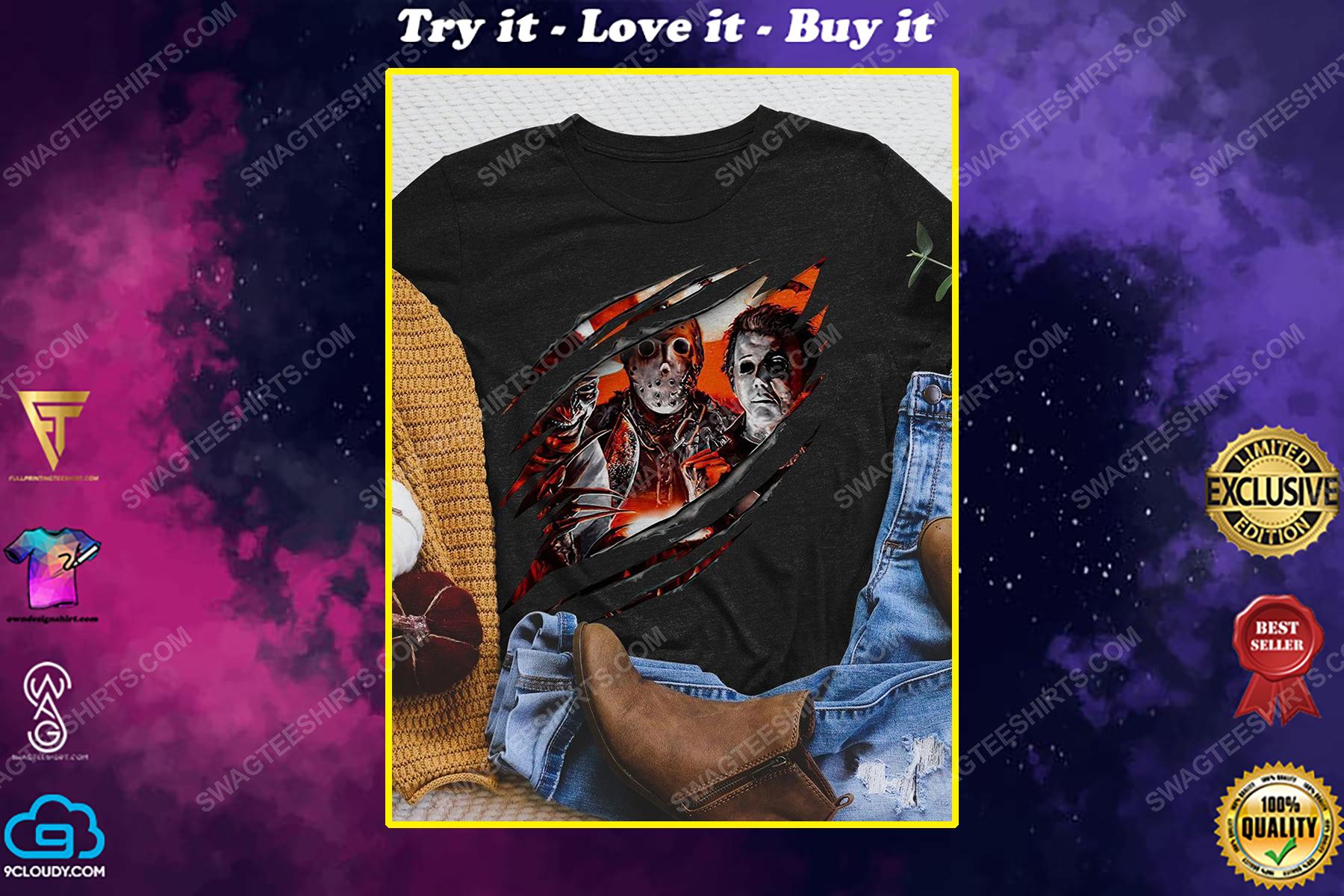 Halloween michael myers jason voorhees and freddy krueger shirt
