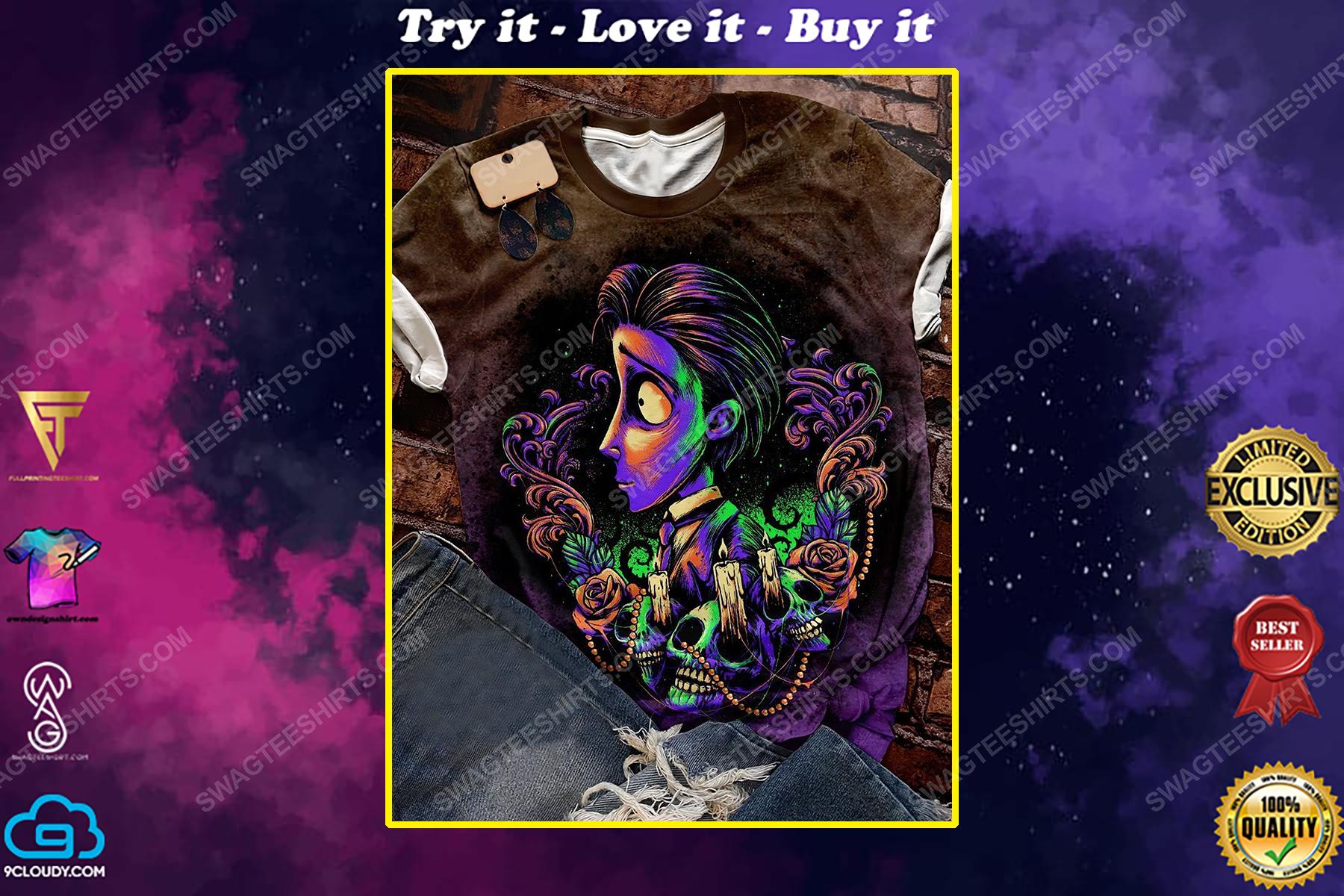 Halloween night and corpse bride movie bridegroom full print shirt