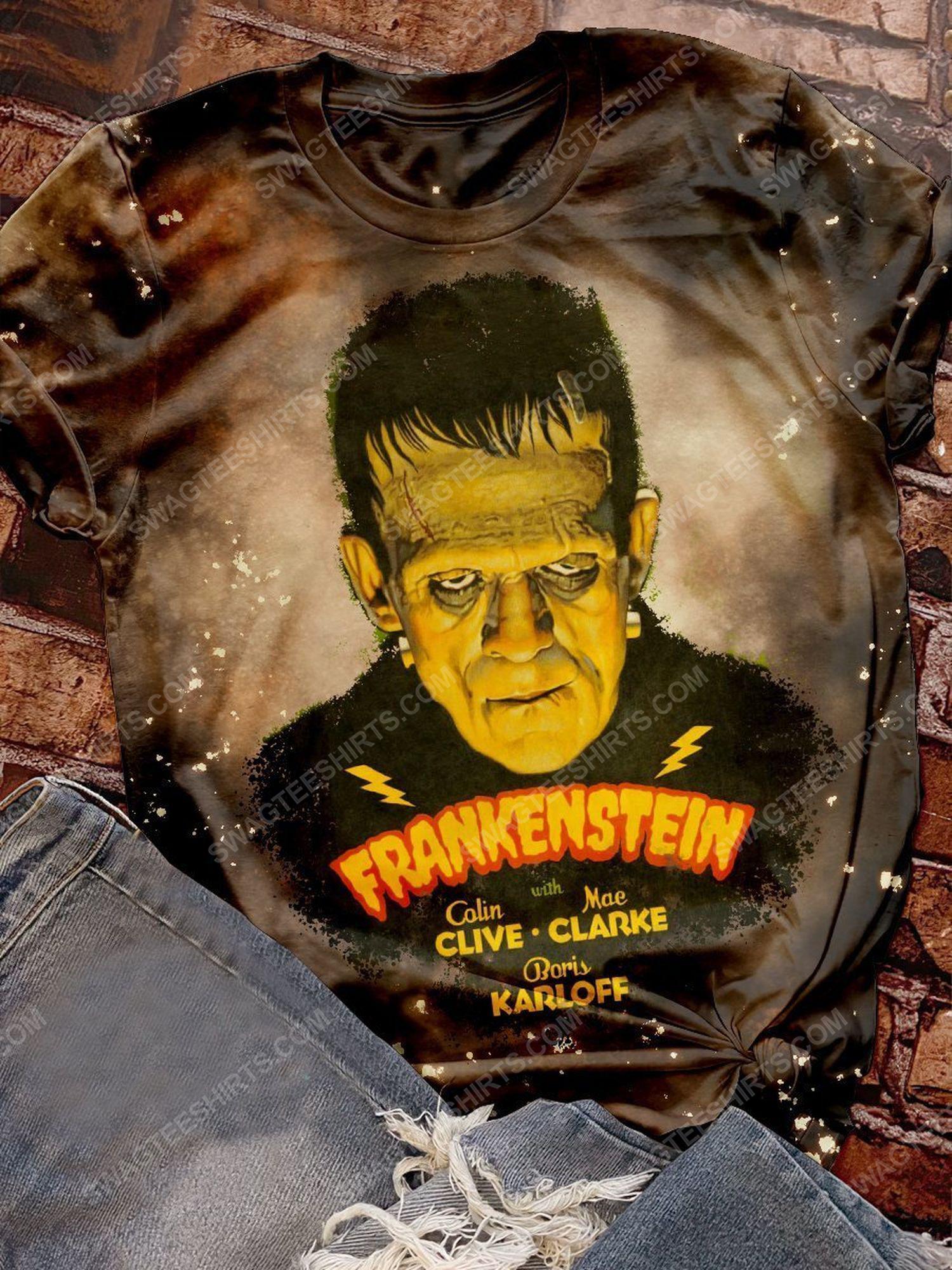 Halloween night and frankenstein movie bleached shirt 1