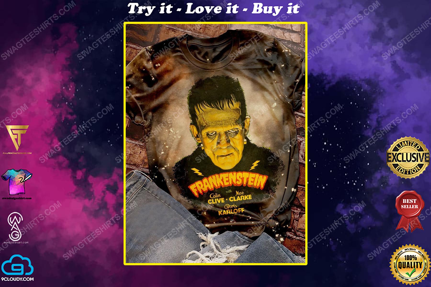 Halloween night and frankenstein movie bleached shirt