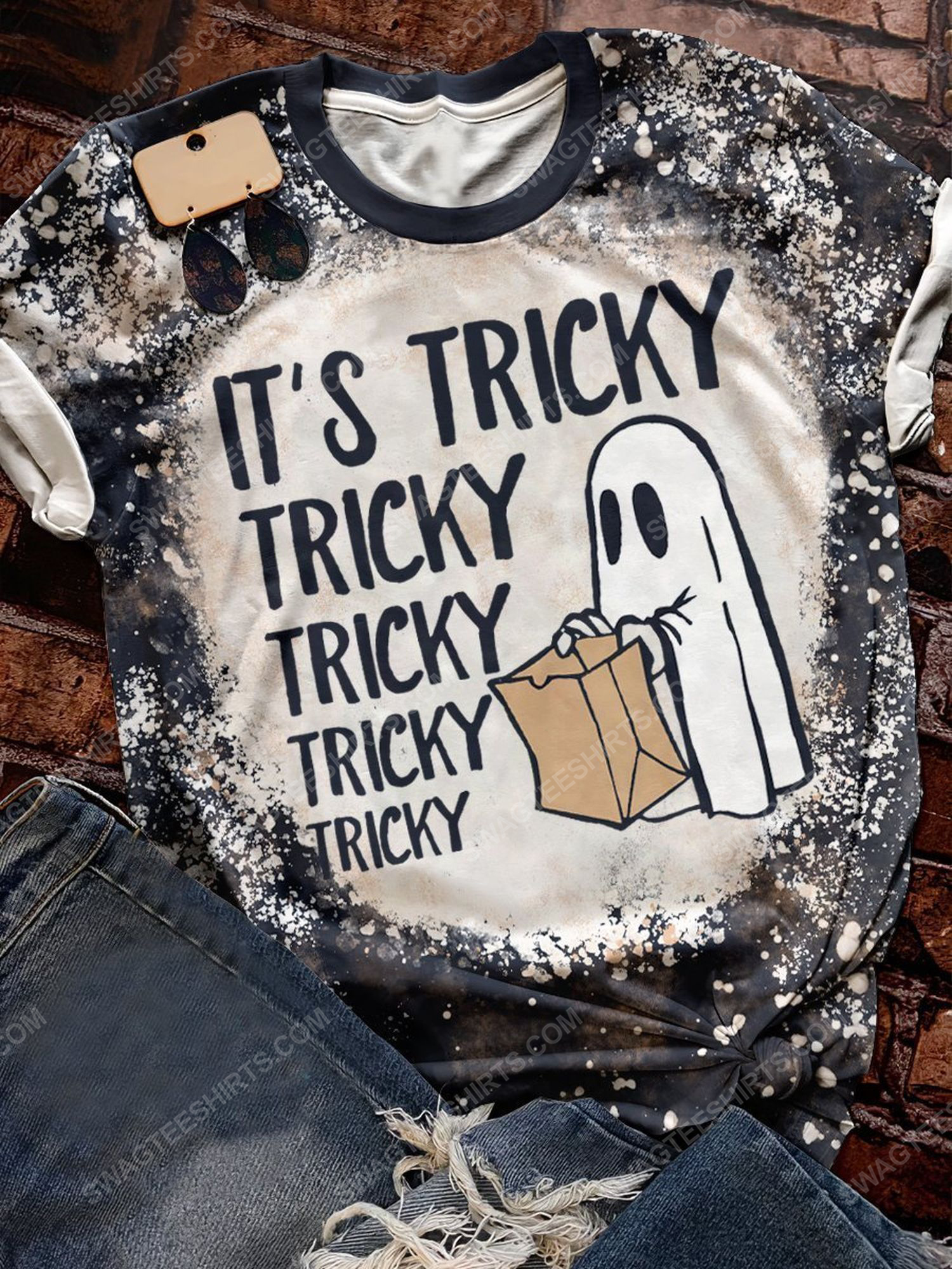 Halloween night and it's tricky ghost bleached shirt 1 - Copy