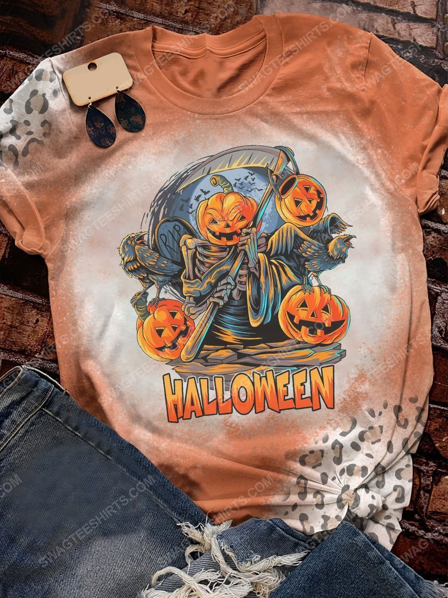 Halloween night and the death with pumpkin head shirt 1