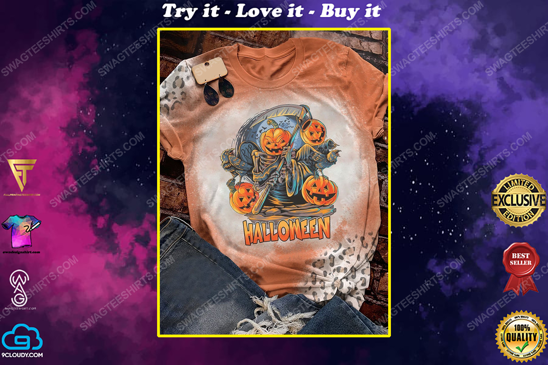 Halloween night and the death with pumpkin head shirt