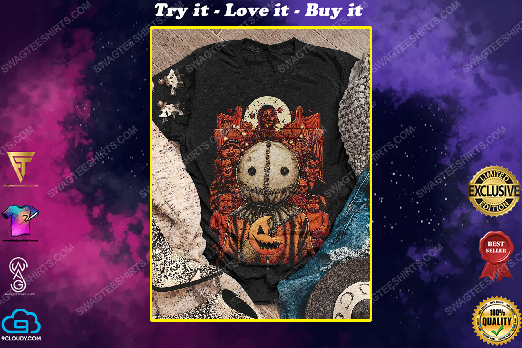 Halloween night and trick or treat scary movie shirt