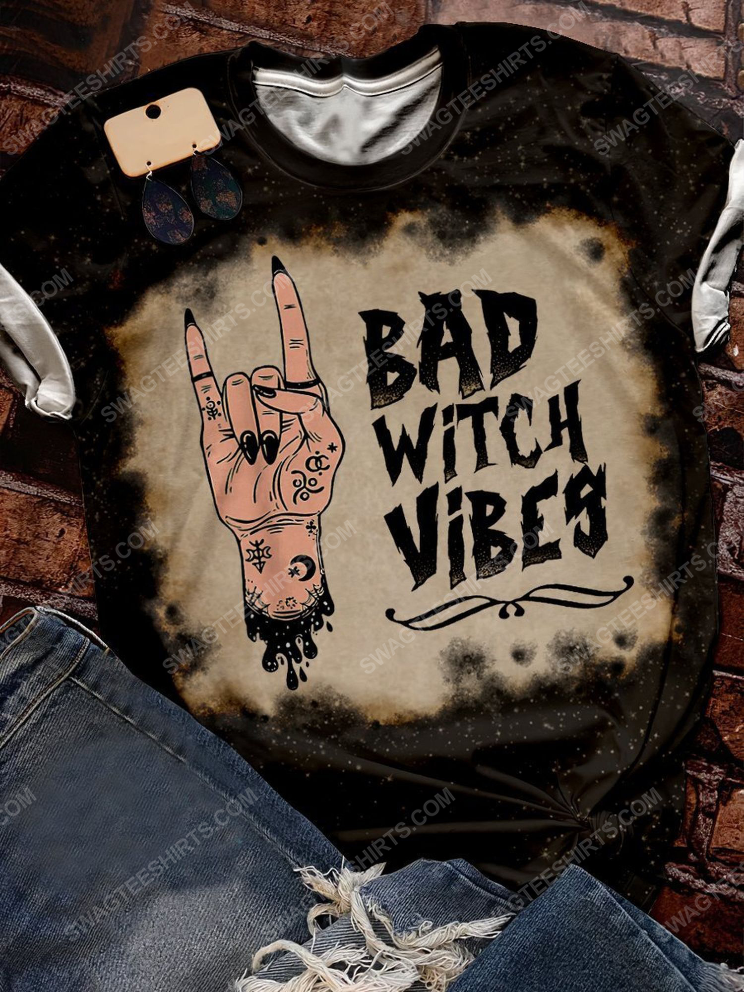 Halloween night bad witch vibes bleached shirt 1 - Copy
