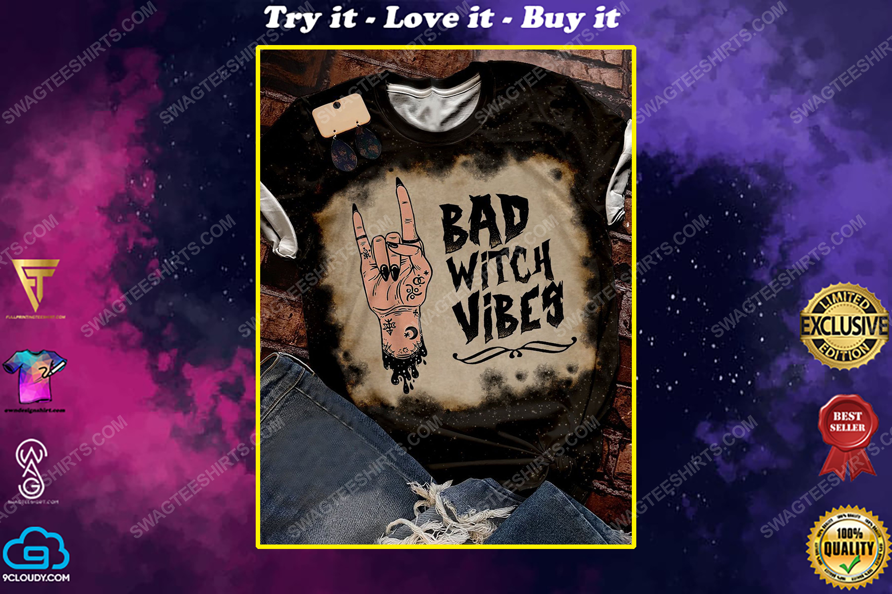 Halloween night bad witch vibes bleached shirt