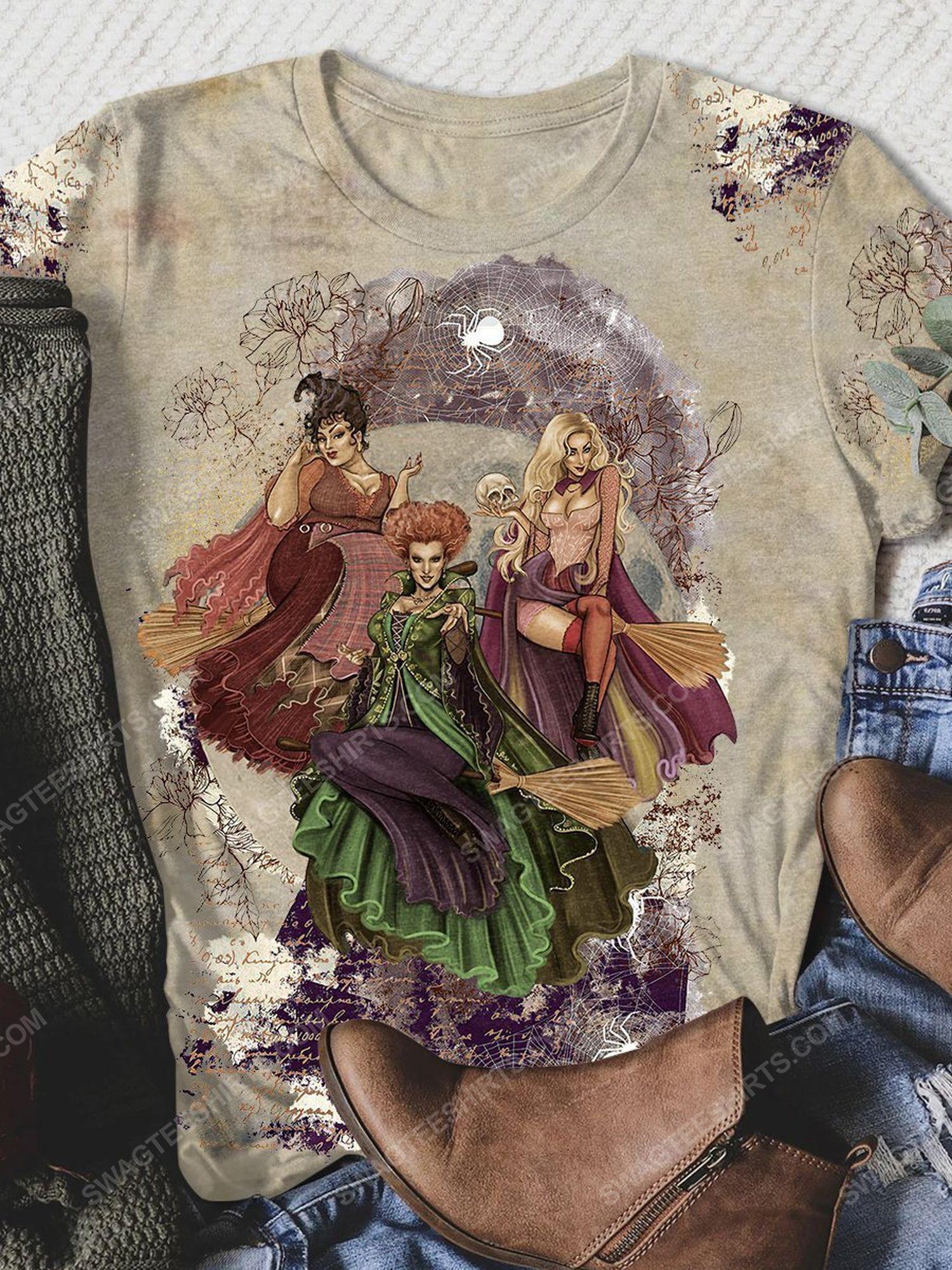 Halloween night hocus pocus floral full print shirt 1 - Copy