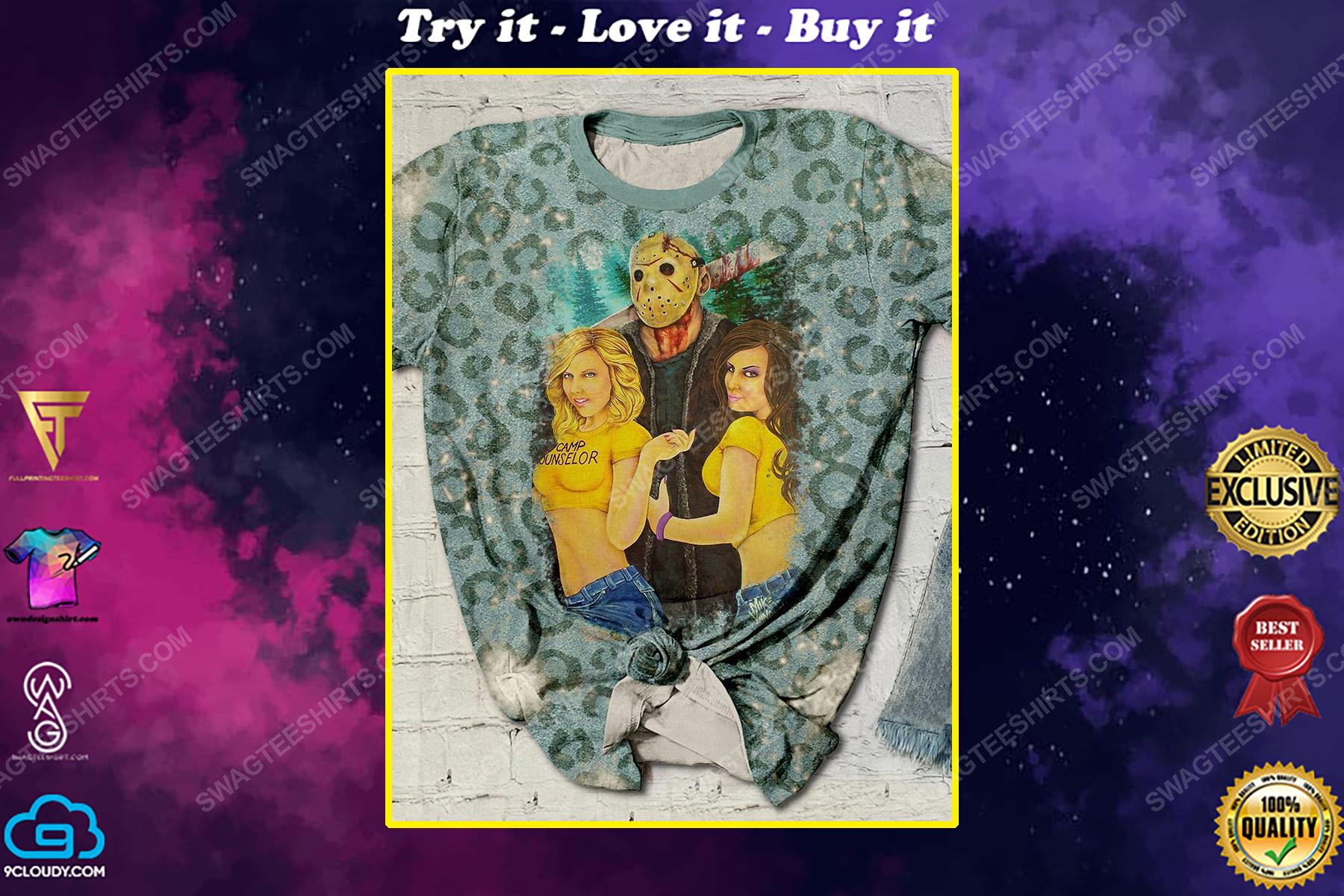 Halloween night jason voorhees friday the 13th leopard shirt
