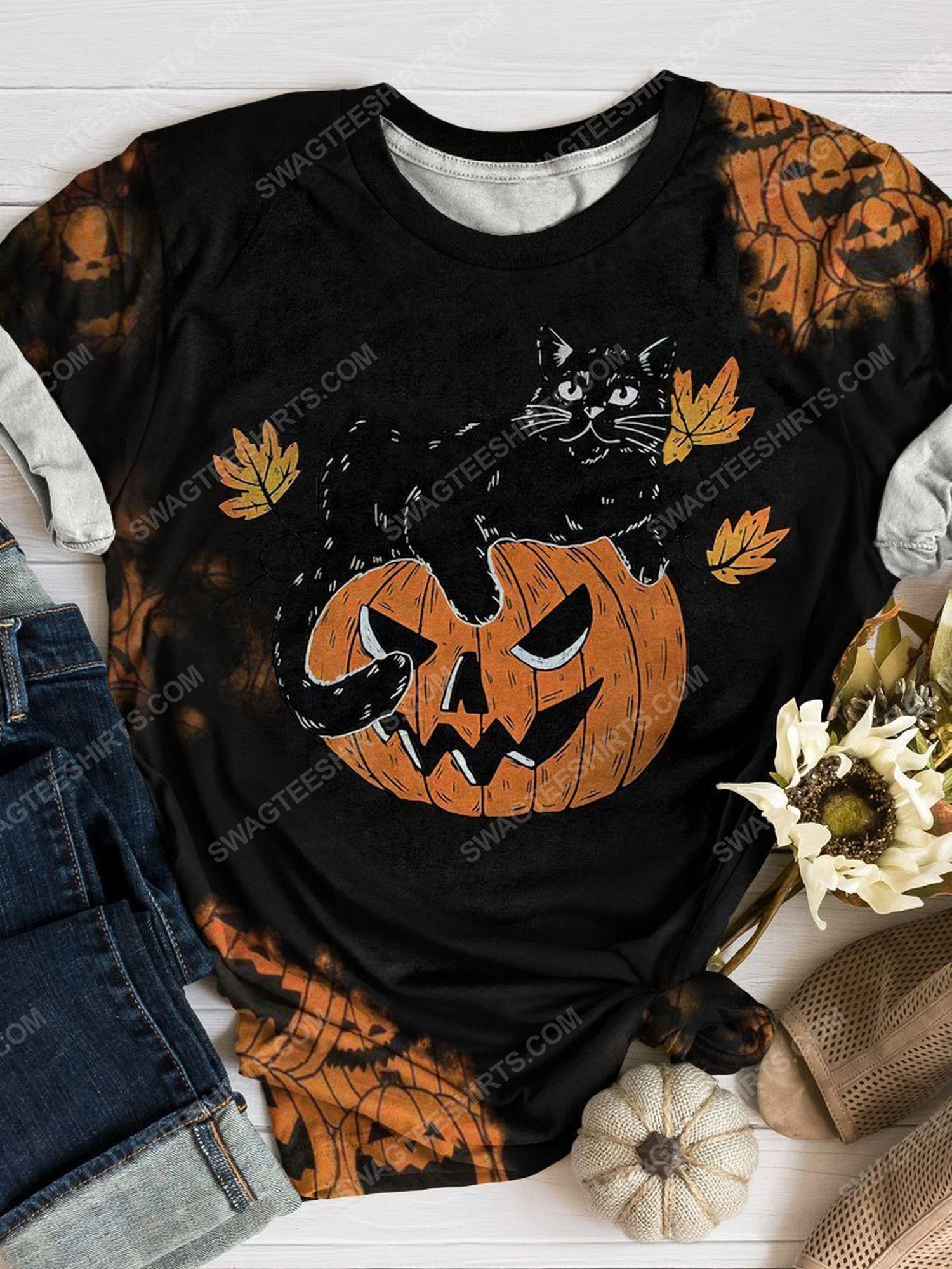 Halloween night pumpkin and black cat full print shirt 1 - Copy (2)