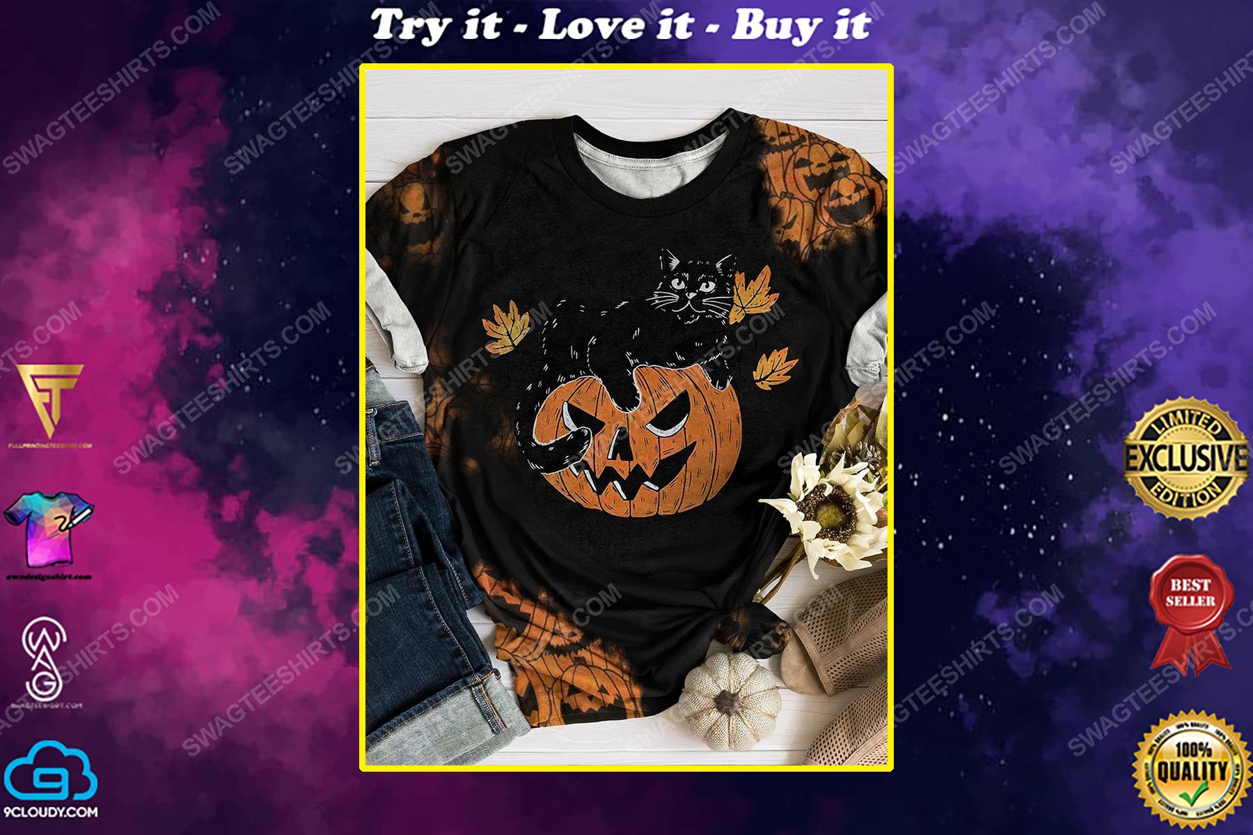 Halloween night pumpkin and black cat full print shirt