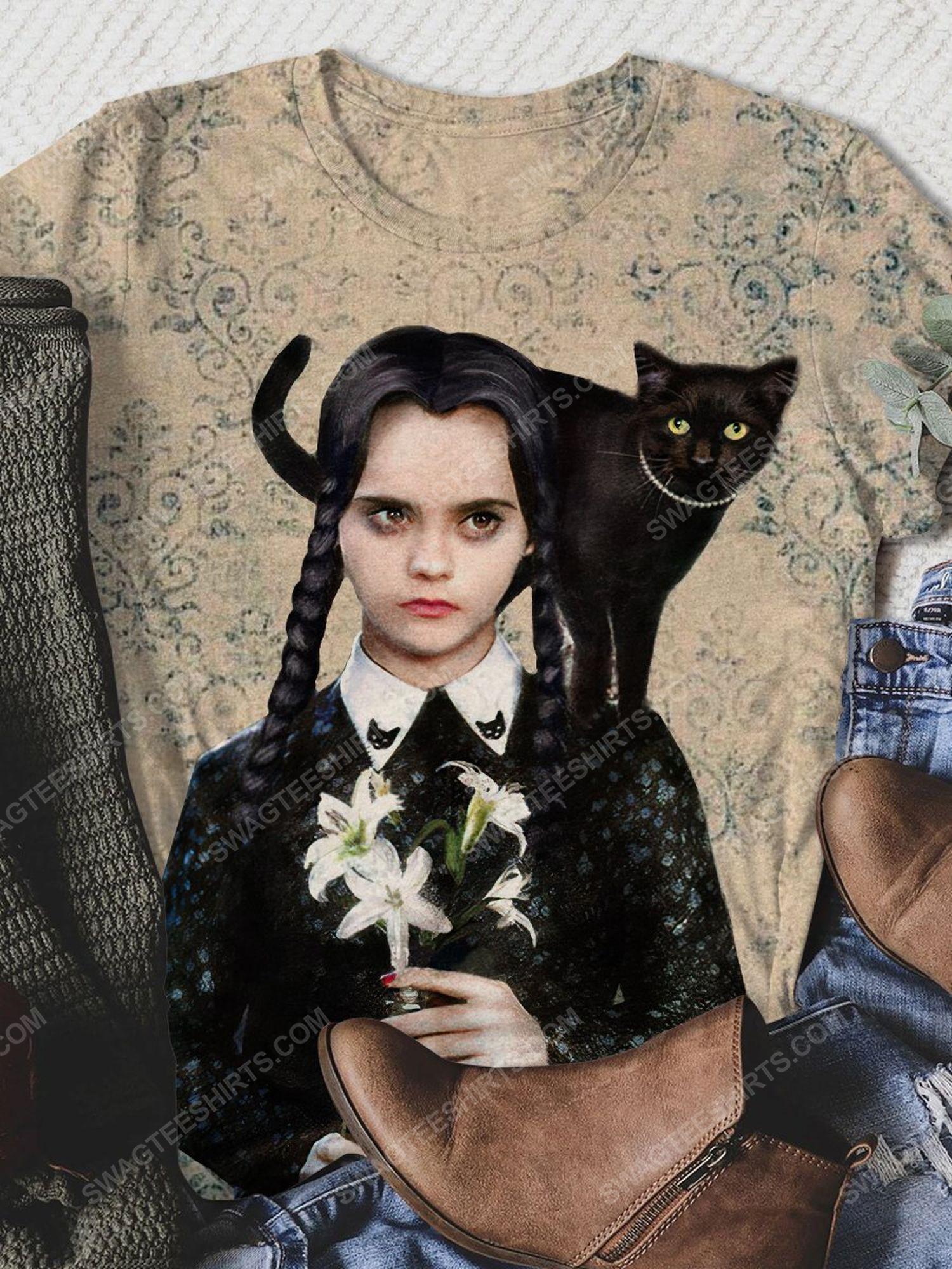 Halloween night wednesday addams and cat full print shirt 1