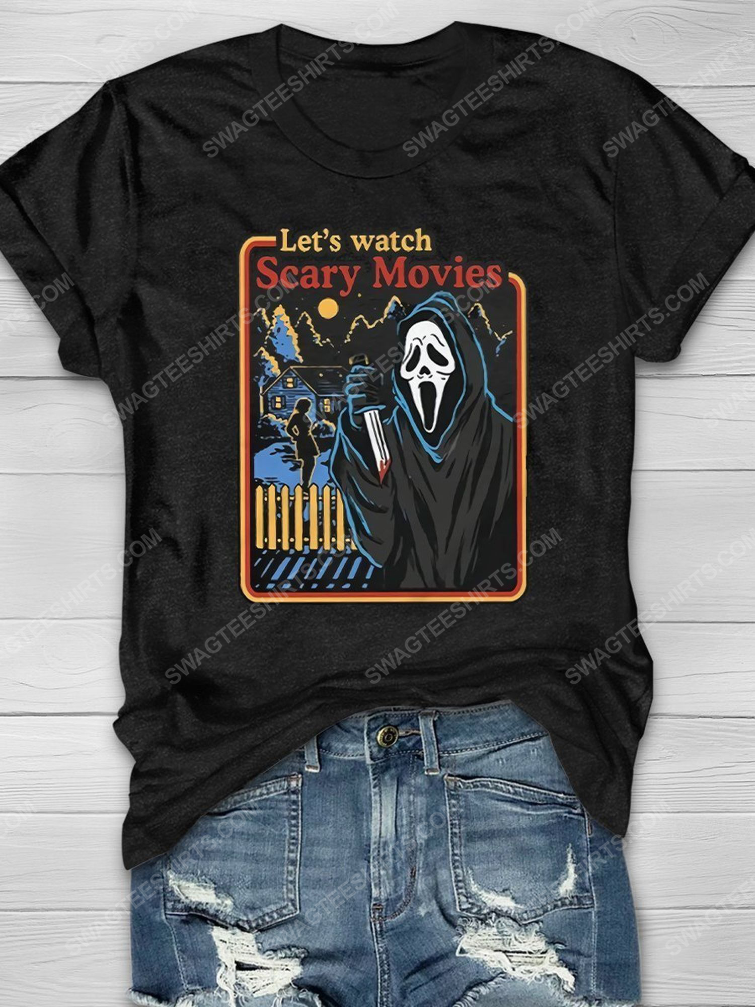 Halloween screaming movie let's watch scary movies shirt 1