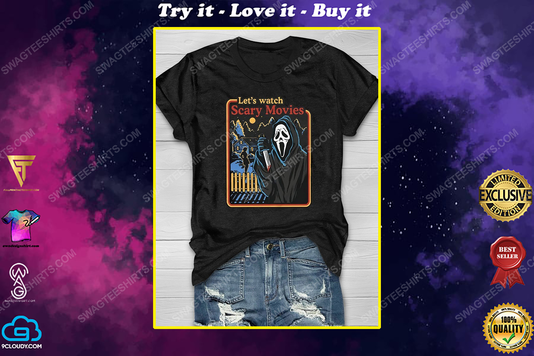 Halloween screaming movie let's watch scary movies shirt