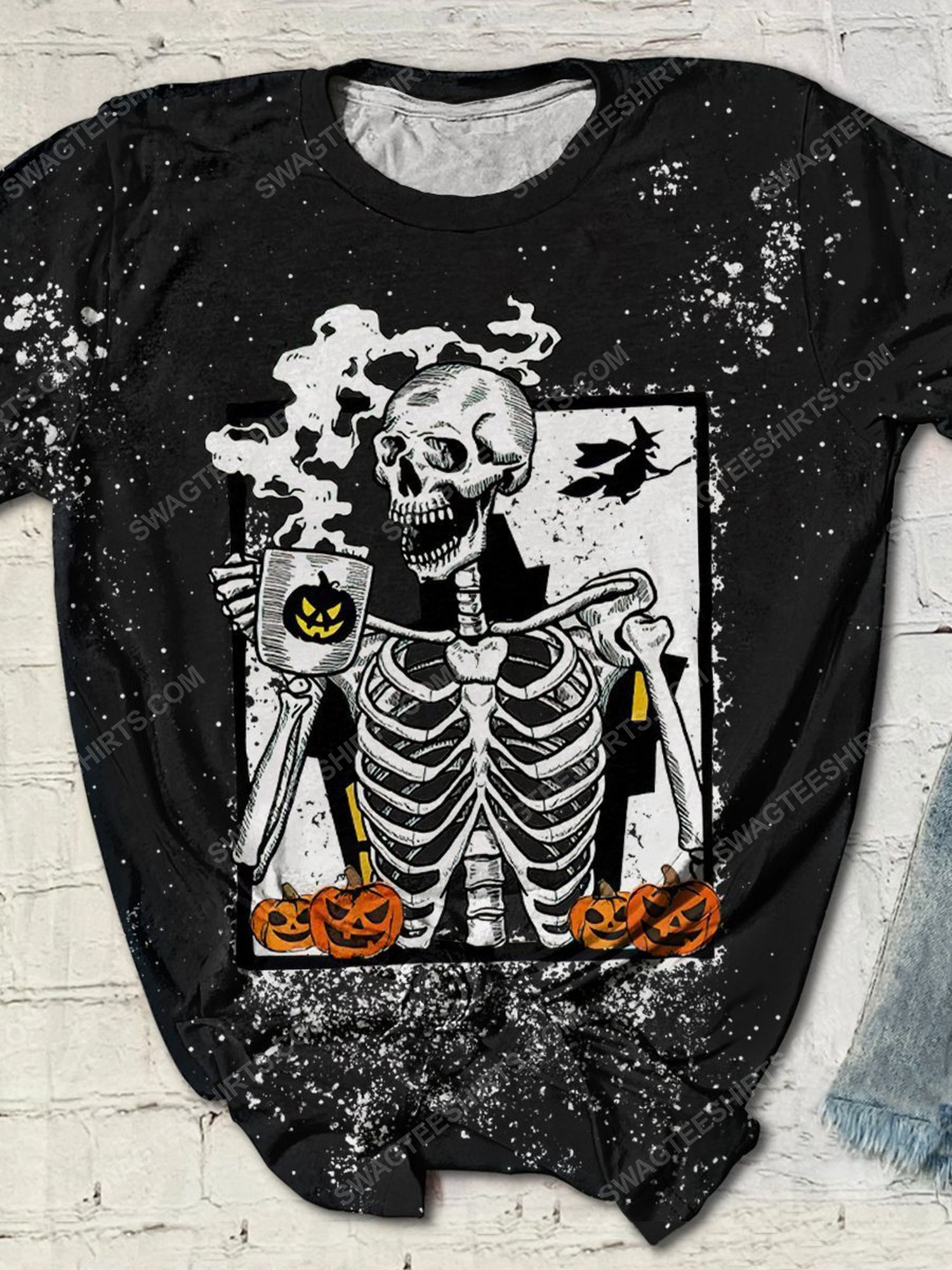 Halloween skull and coffee bleached shirt 1 - Copy
