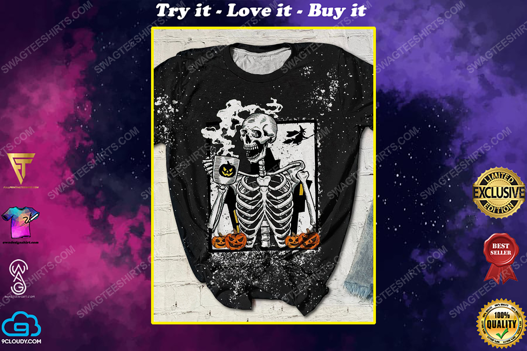 Halloween skull and coffee bleached shirt