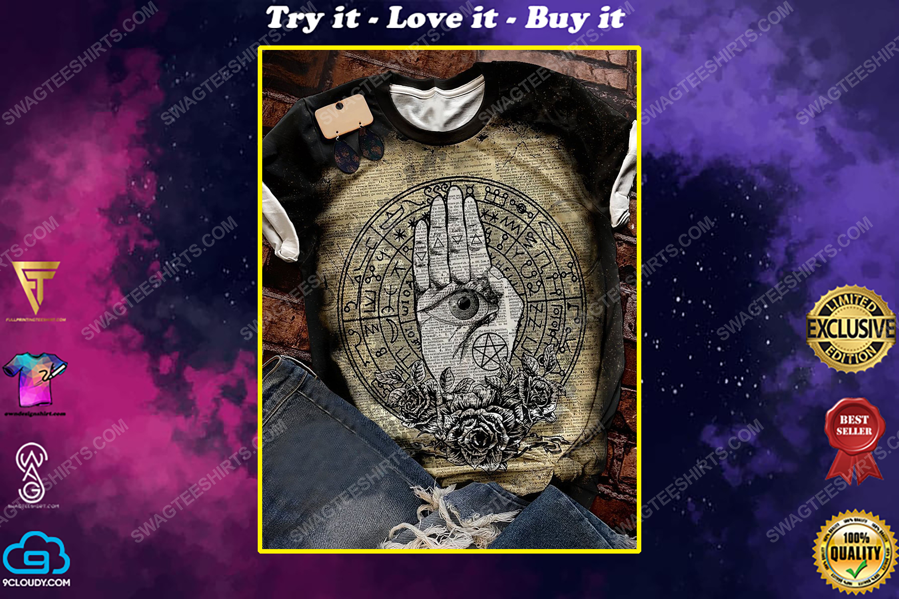 Halloween time and hamsa witchcraft full print shirt