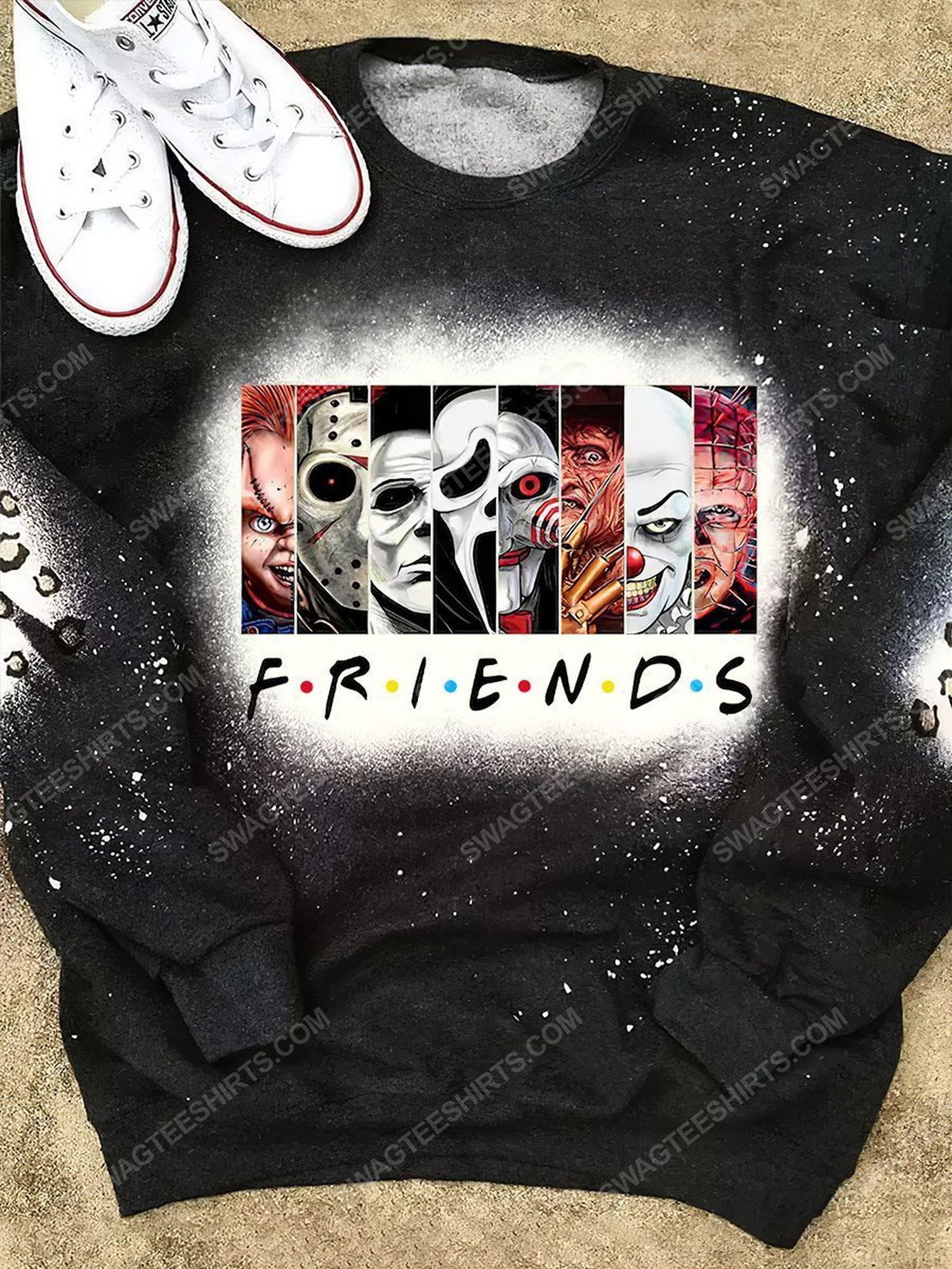 Halloween time horror movie characters bleached shirt 1 - Copy (2)
