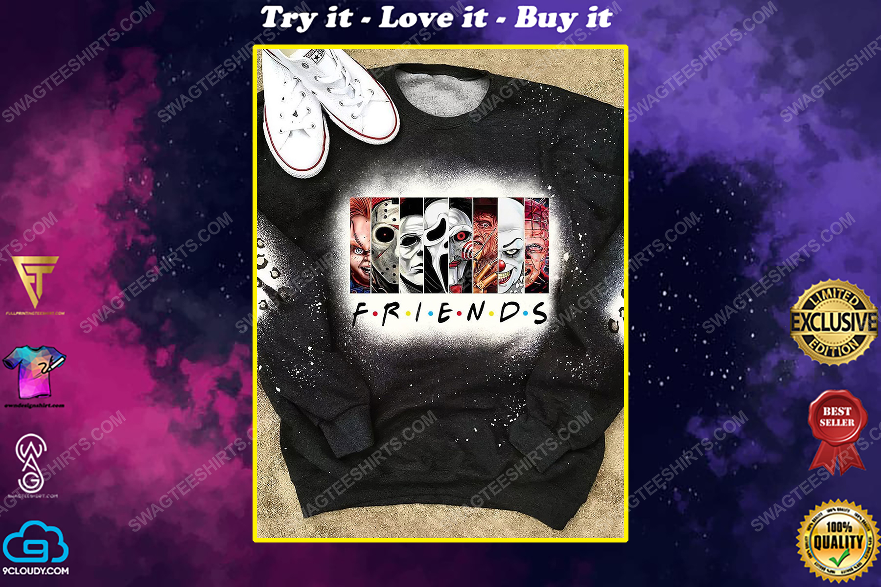 Halloween time horror movie characters bleached shirt