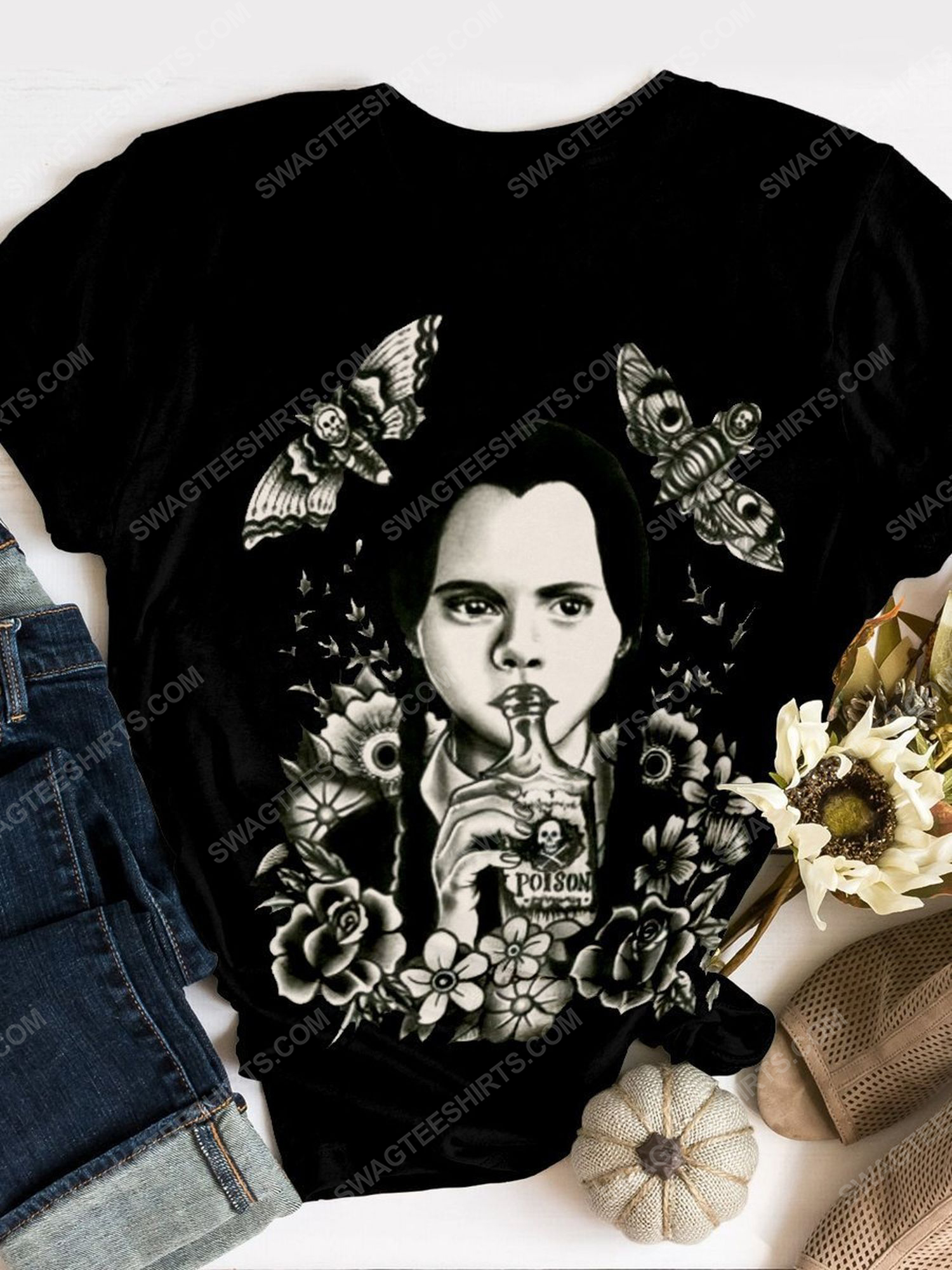 Halloween wednesday addams and butterfly shirt 1 - Copy