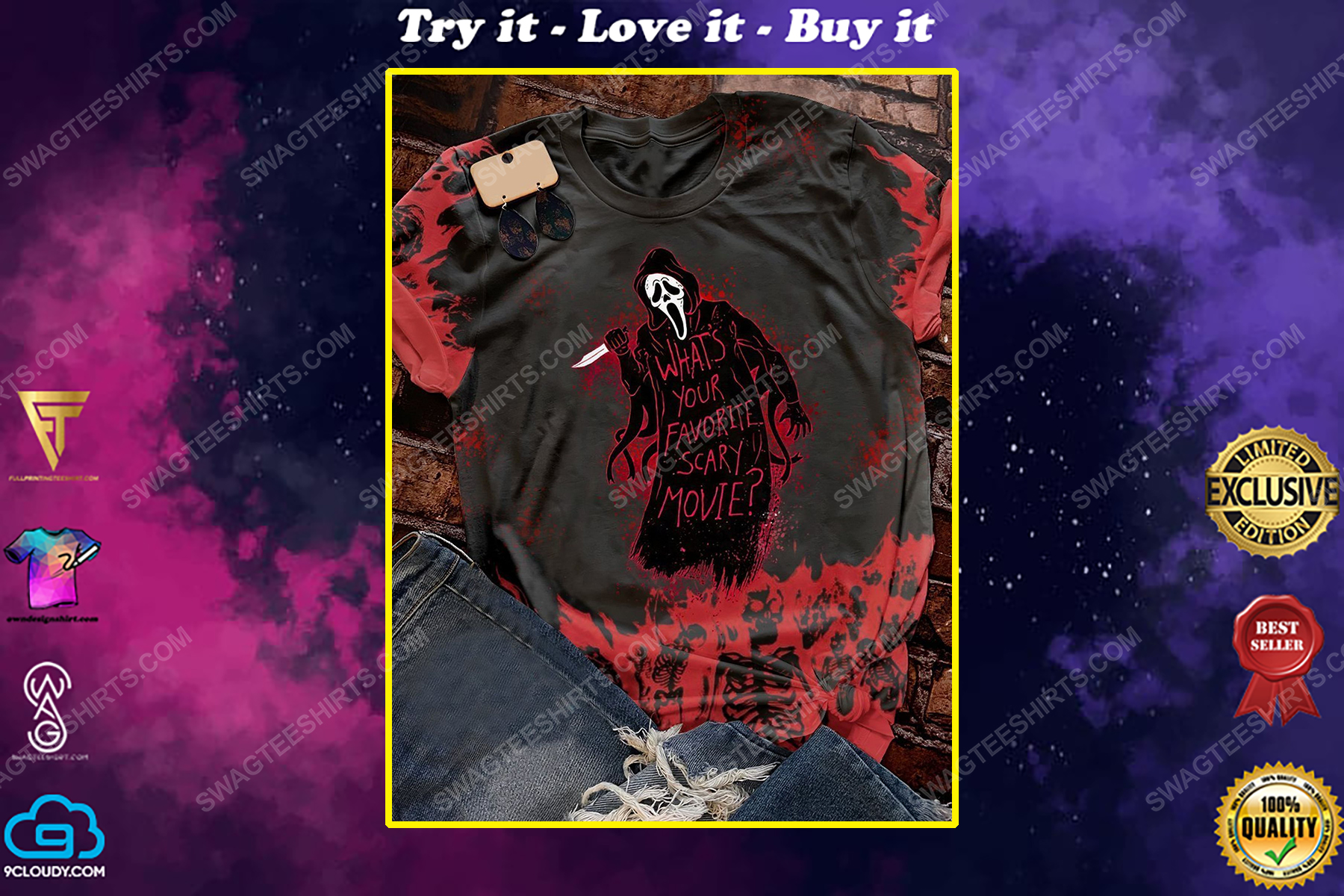 Halloween what's your favorite scary movie screaming movie shirt