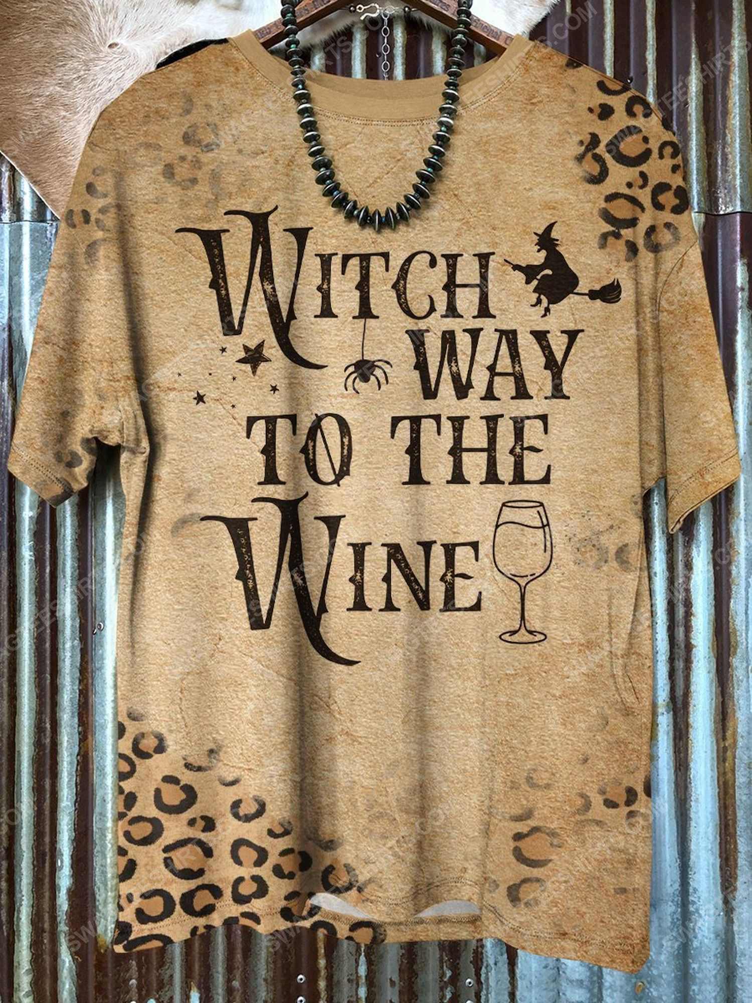 Halloween witch way to the wine leopard shirt 1 - Copy (2)