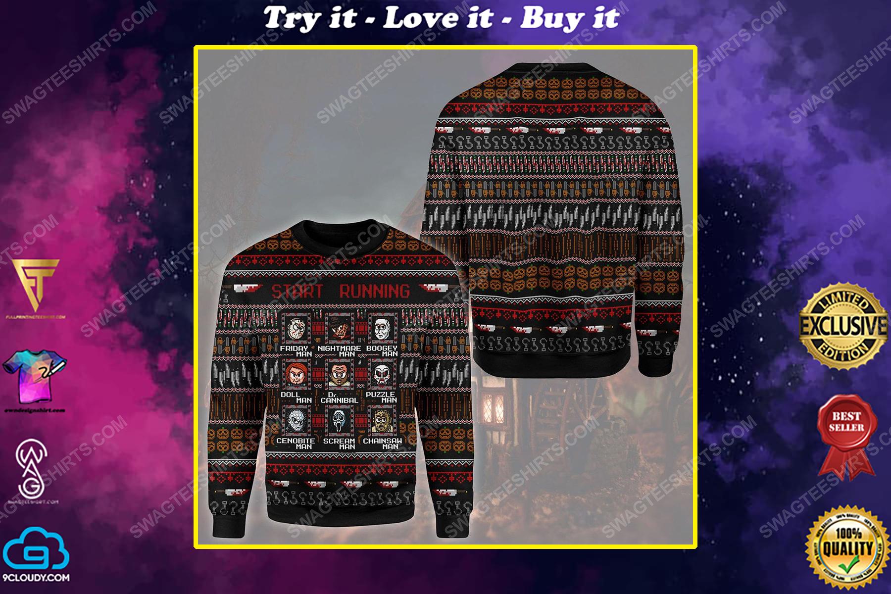 Horror killers start running ugly christmas sweater 1