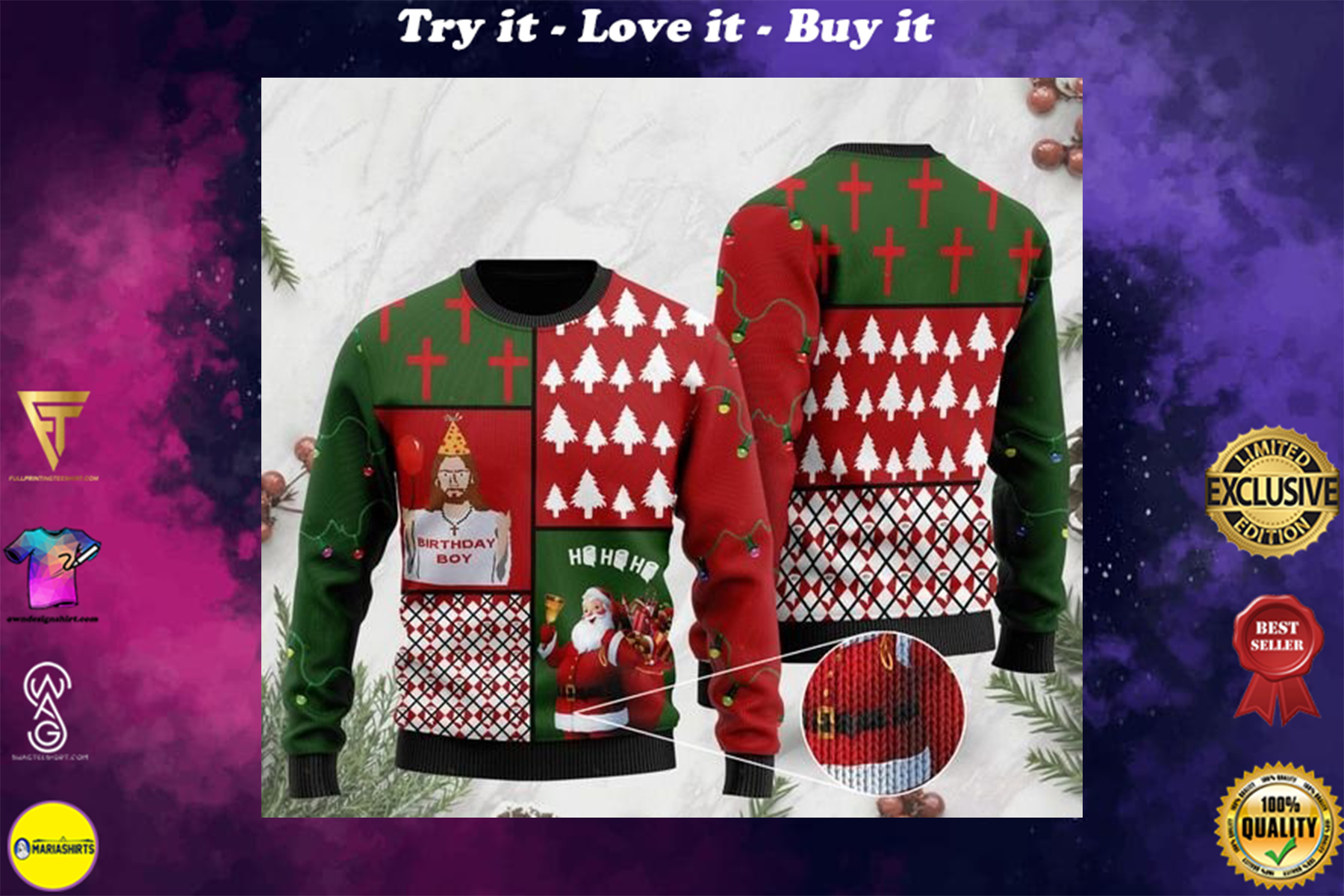 Jesus birthday boy and santa claus ho ho ho with toilet paper full printing ugly sweater