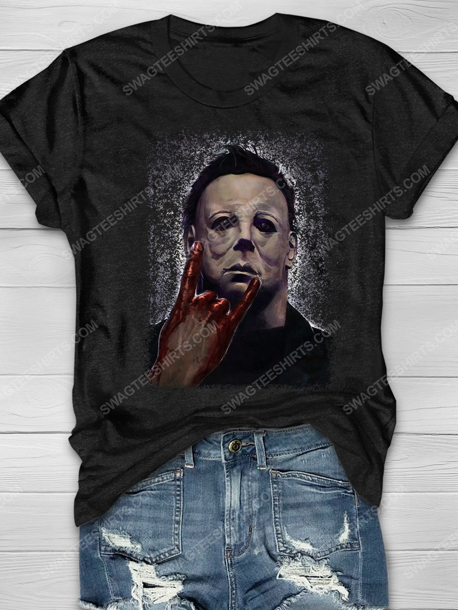 Michael myers scary movies rock hand halloween shirt 1 - Copy