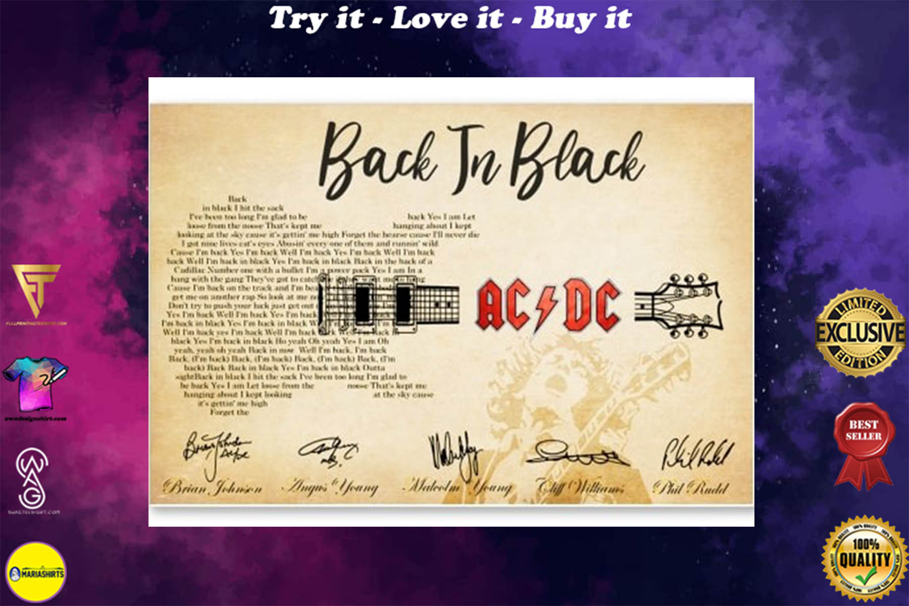 back in black guitar lyrics acdc rockband poster