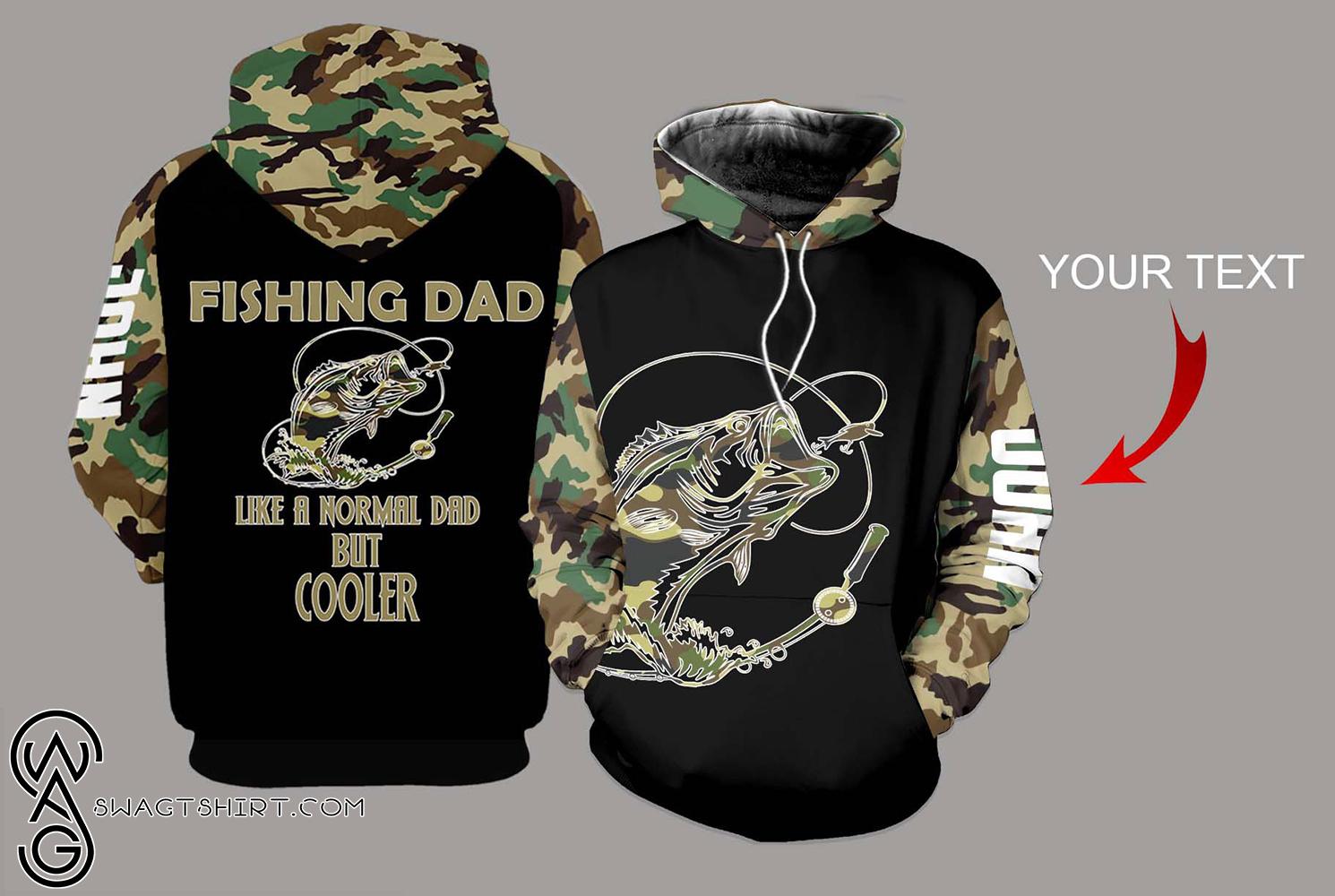Personalized fishing dad bass camo full printing shirt