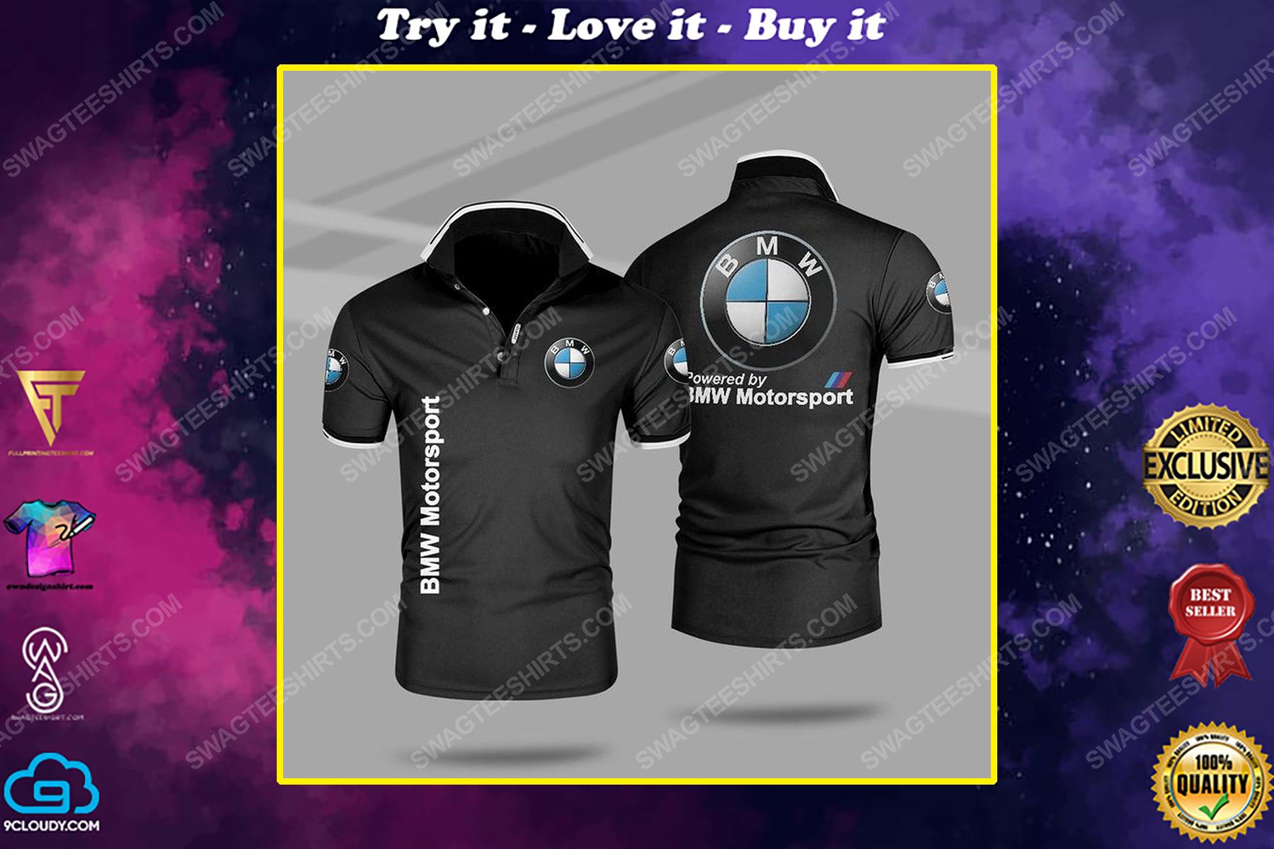 Powered by bmw motorsport all over print polo shirt