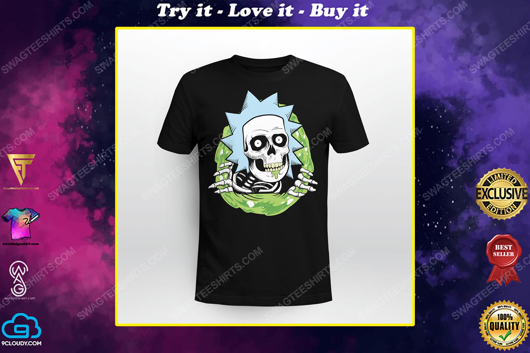 Rick and morty tv show rick sanchez skull halloween shirt