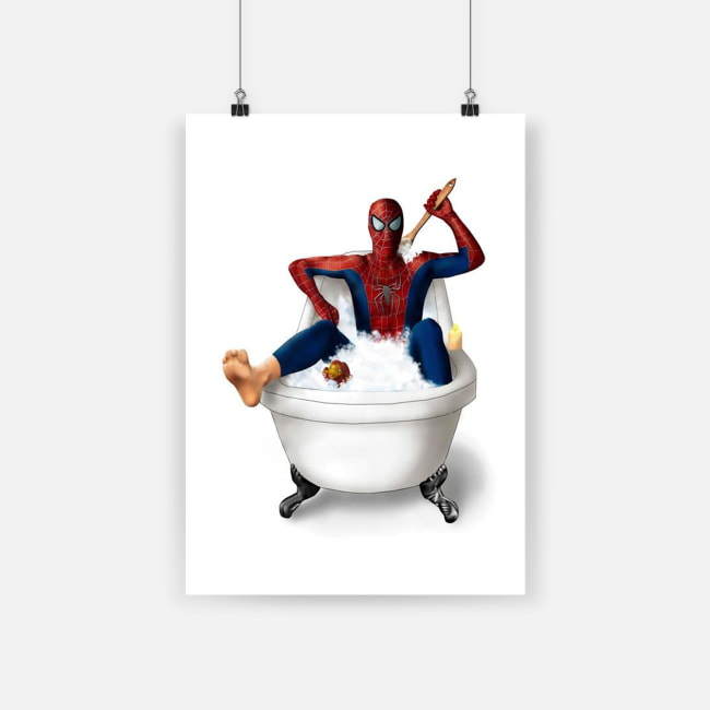 Superhero spider-man on the toilet poster