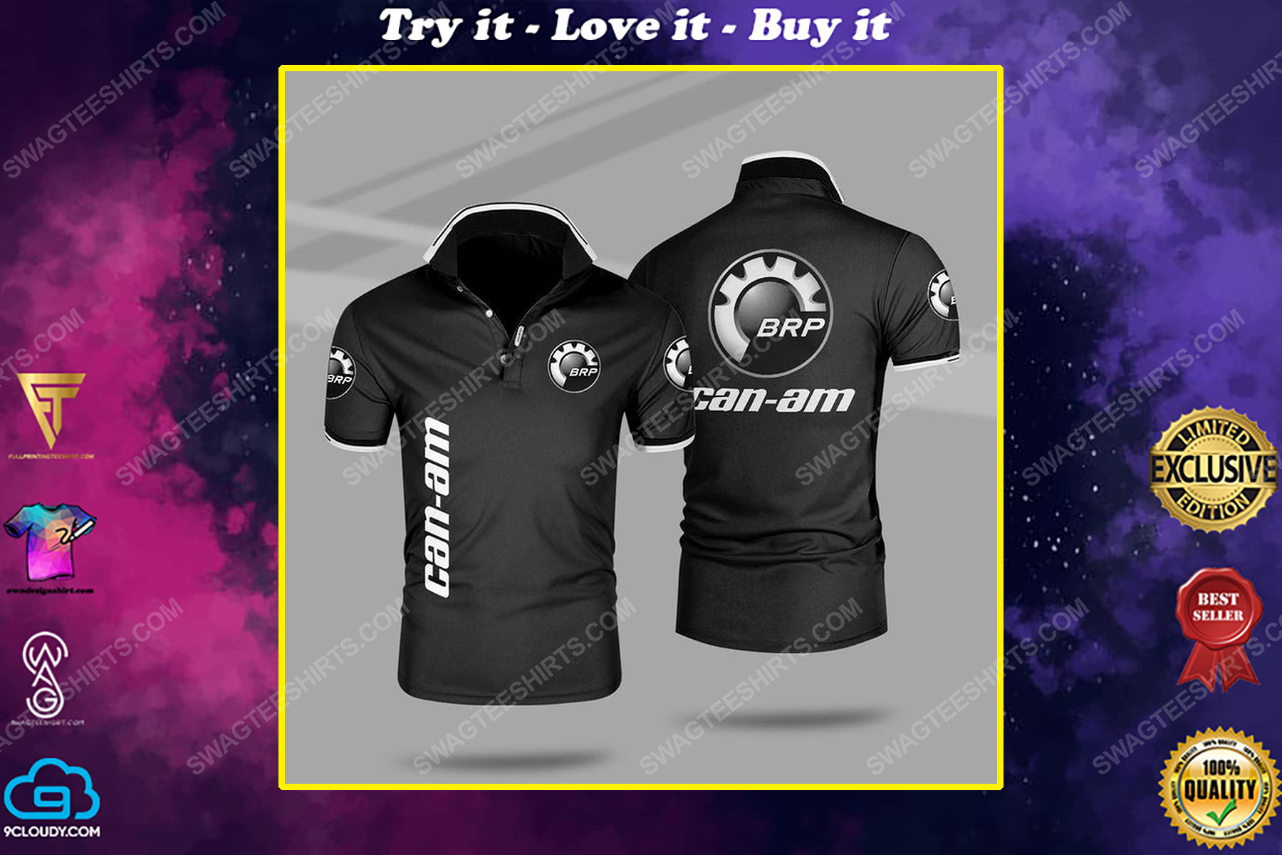 The can-am motorcycles symbol all over print polo shirt