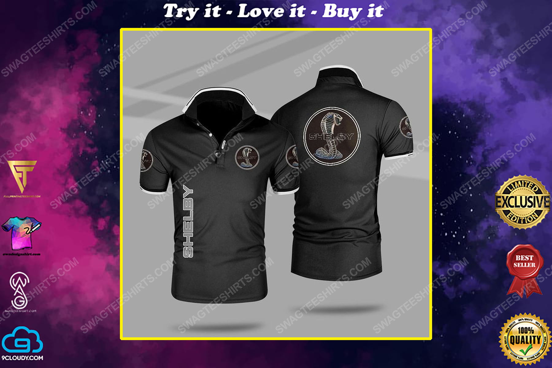 The ford mustang shelby car all over print polo shirt