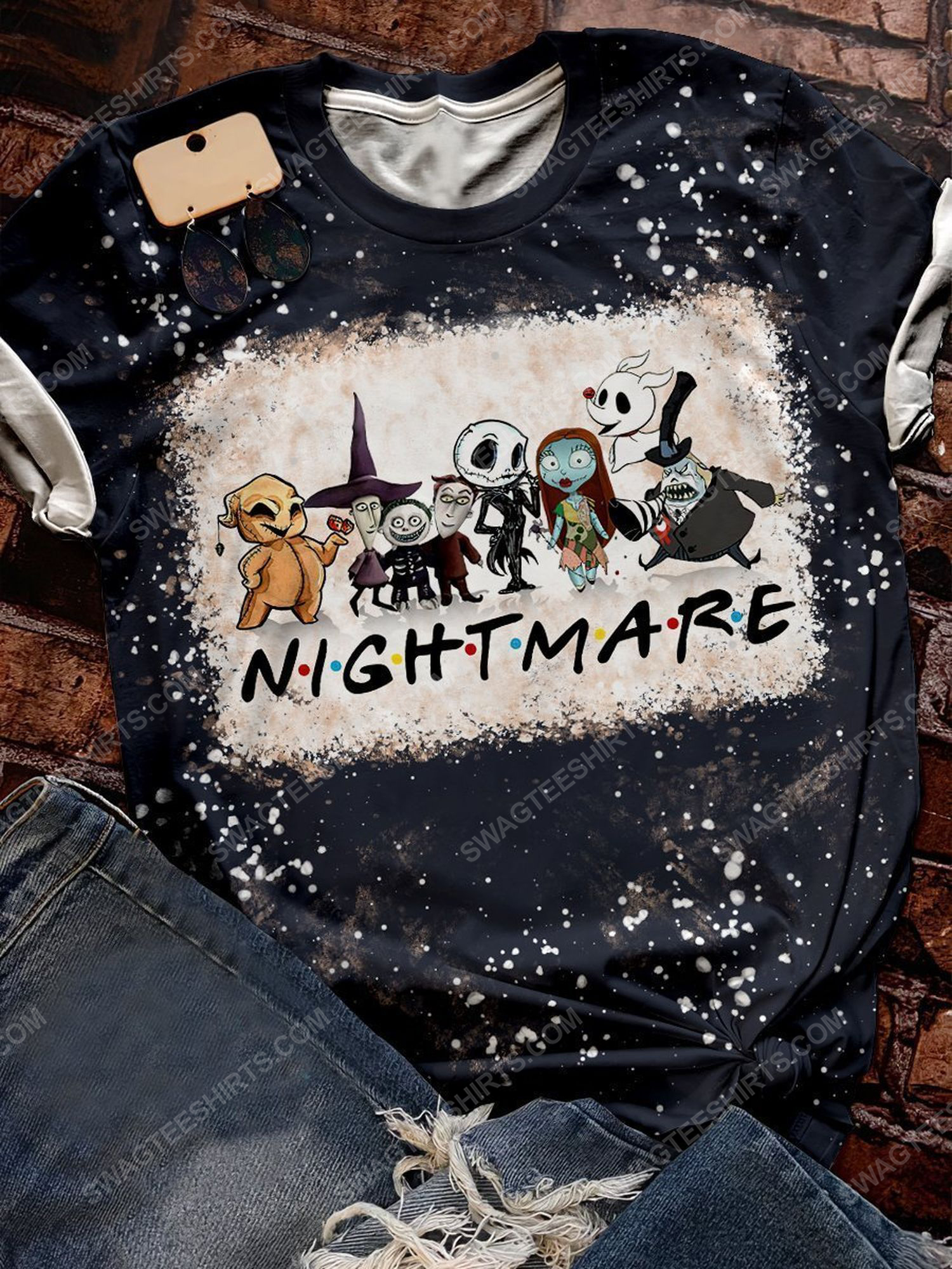 The nightmare before christmas bleached shirt 1 - Copy