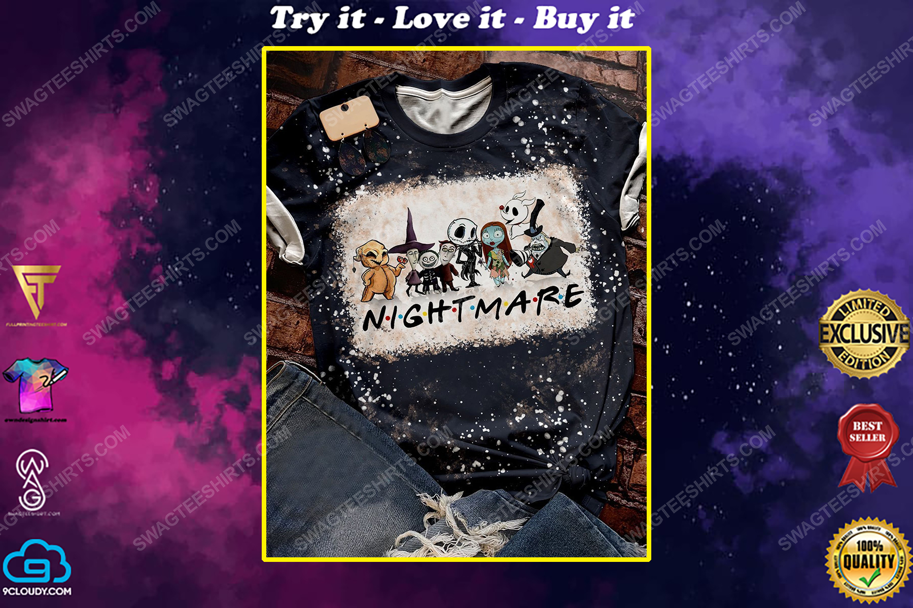 The nightmare before christmas bleached shirt