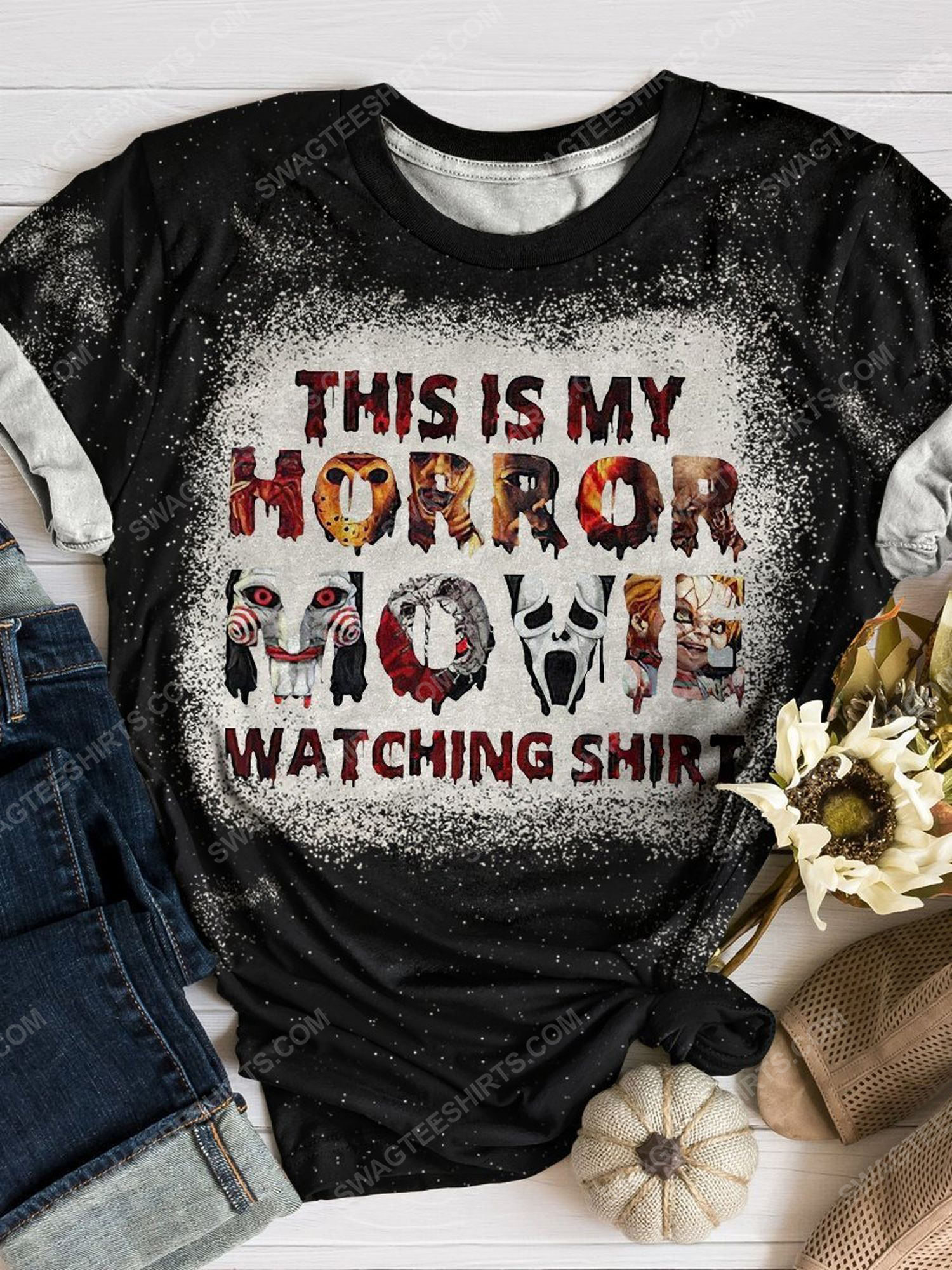 This is my horror movie watching shirt bleached shirt 1 - Copy (2)