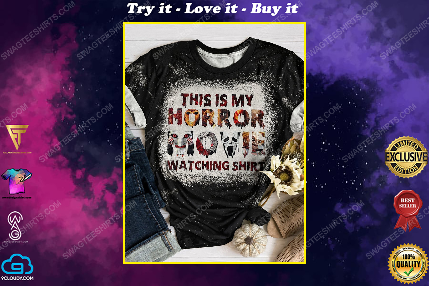 This is my horror movie watching shirt bleached shirt
