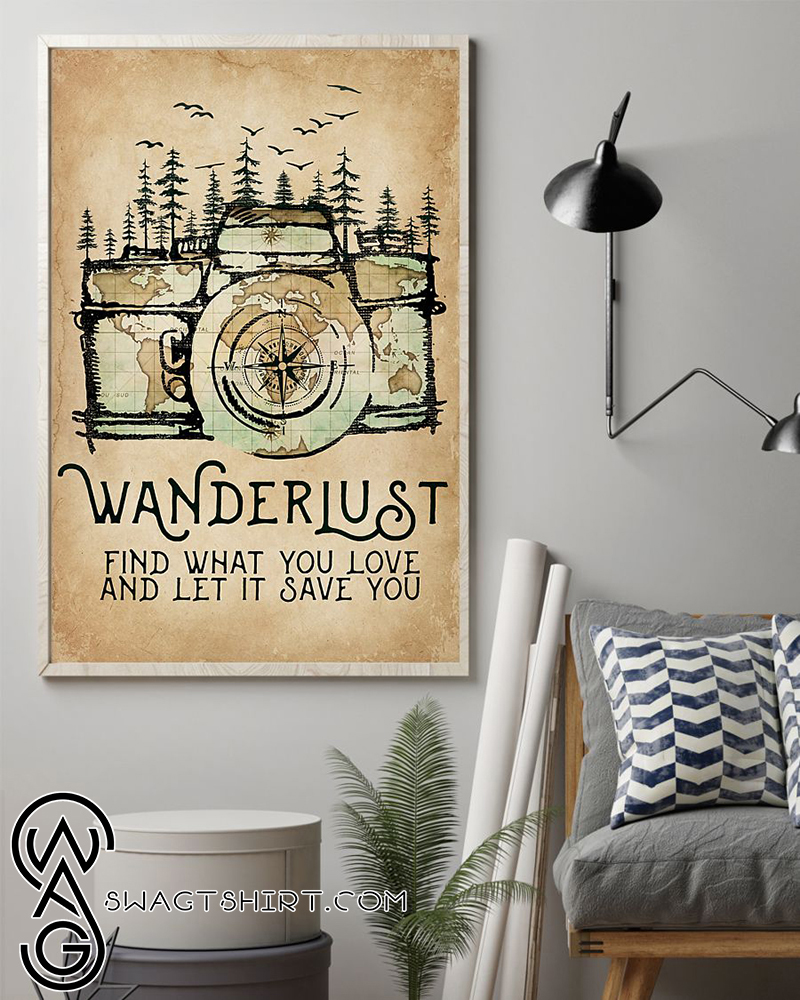 World map wanderlust find what you love and let it save you poster