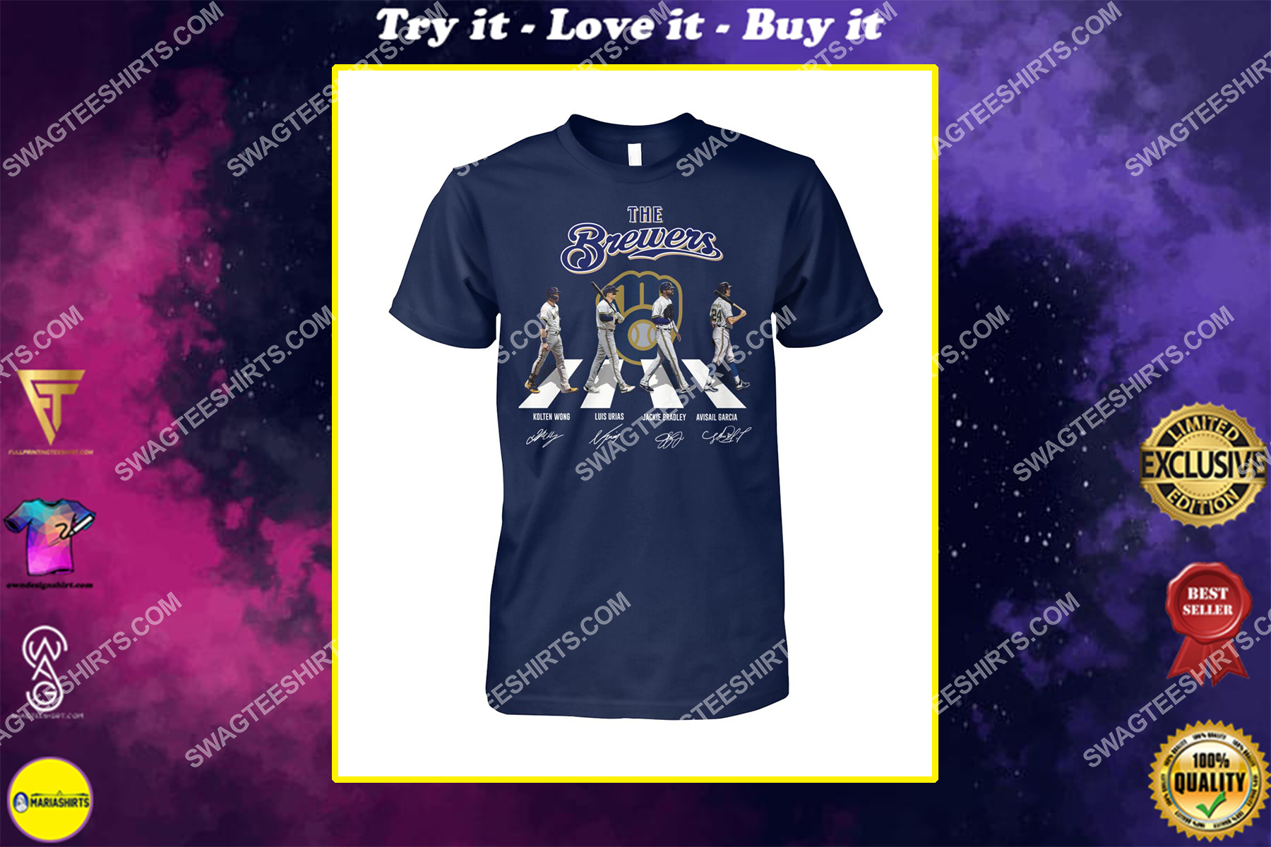 abbey road the milwaukee brewers signatures shirt