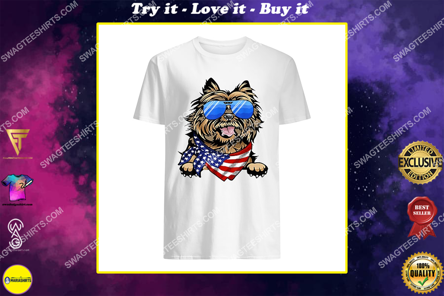 american cairn terrier usa flag 4th of july happy independence day shirt