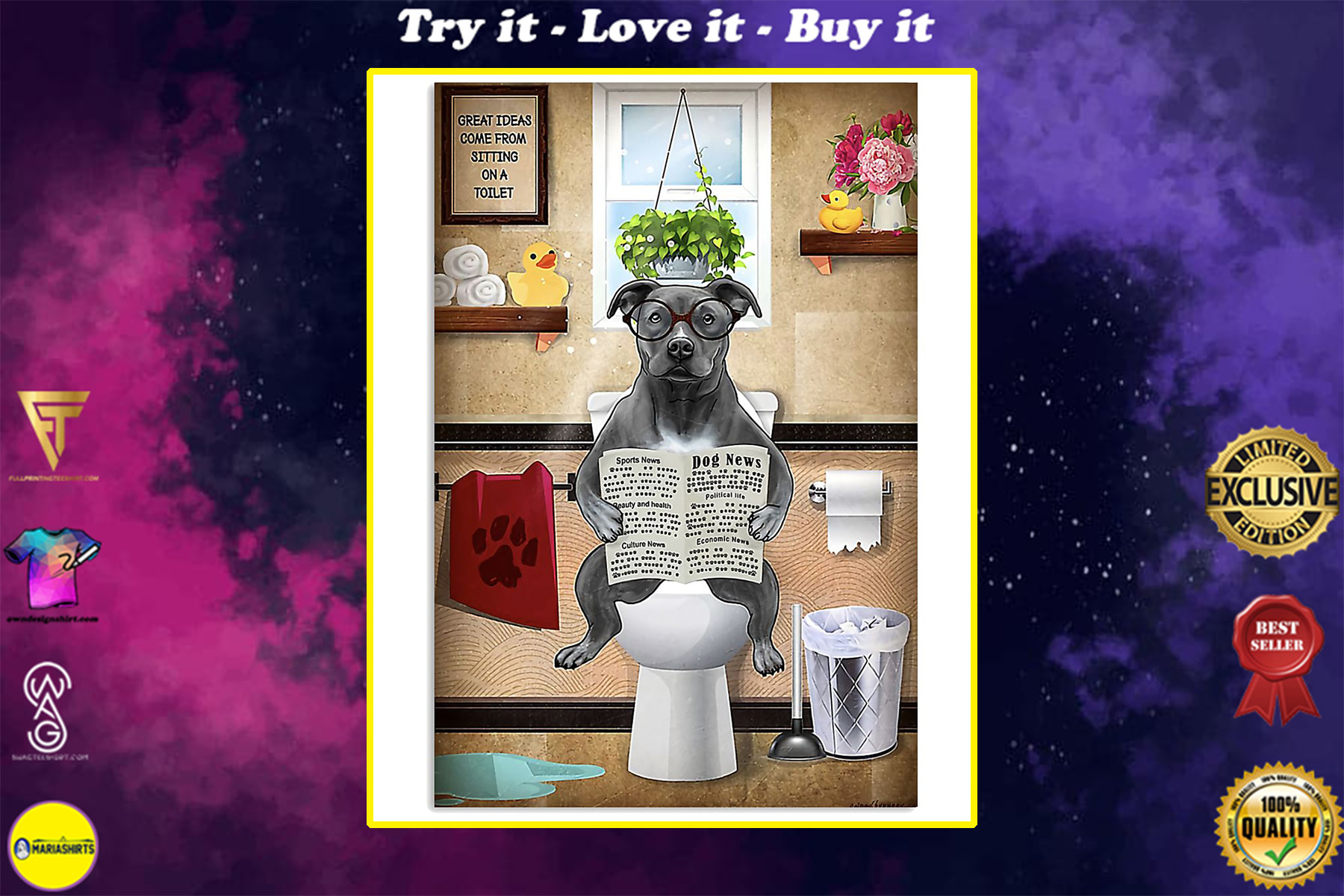 american pit bull great ideas sitting on toilet poster