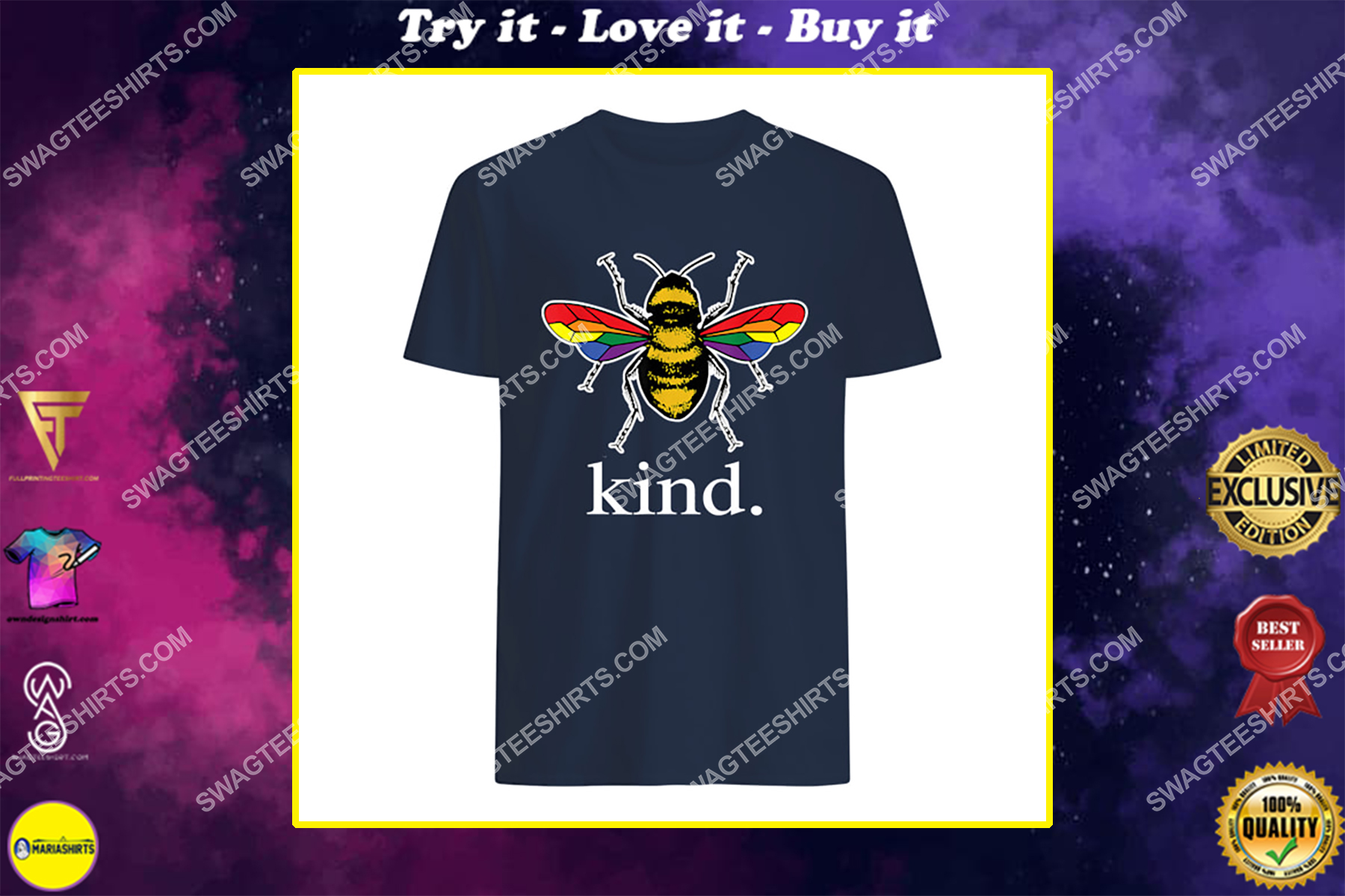 bee kind lgbtq ally gay pride rainbow bumblebee positivity shirt