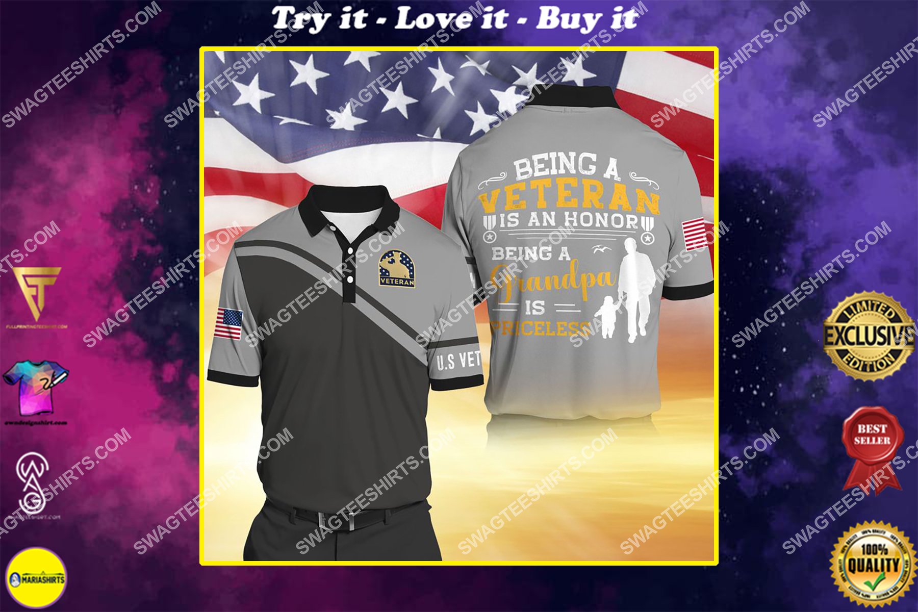 being a veteran is an honor being a grandpa is priceless full print shirt